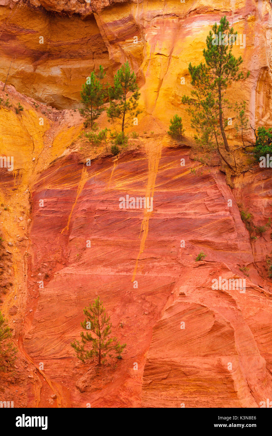 Roussillon, Provence, France. A glimpse on the walls of ocher quarries - Stock Image