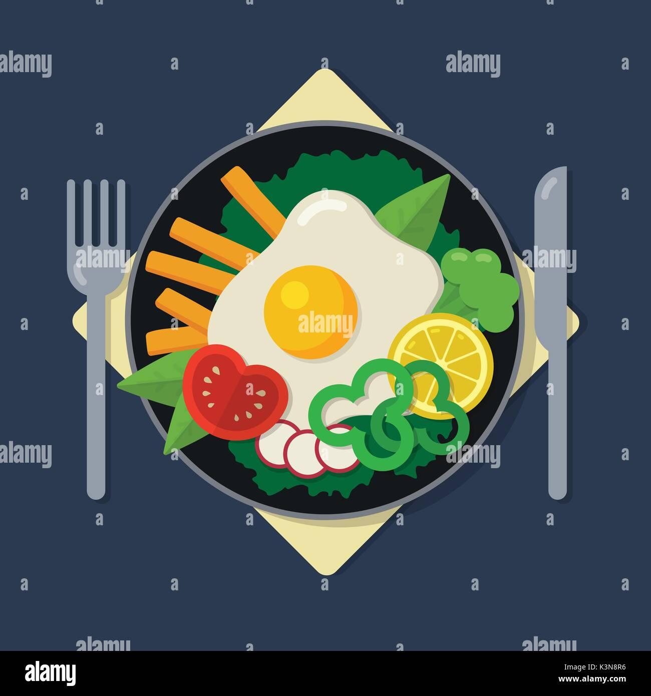 Healthy breakfast flat illustration - Stock Vector
