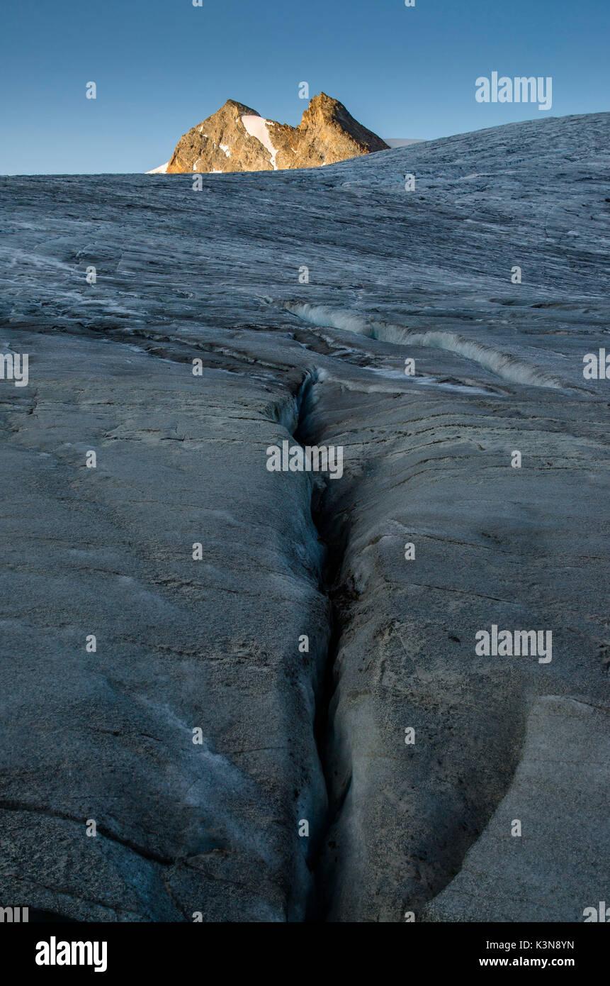 Crevasse on Ruitor's glacier (La Thuile, Valle d'Aosta, Italy) - Stock Image
