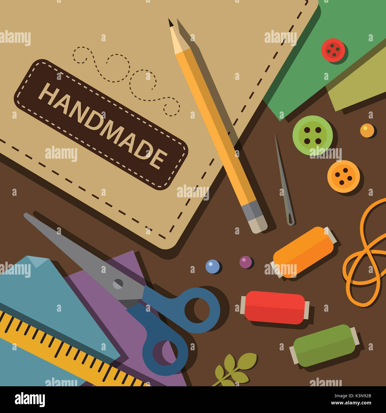 Handmade craft tools and materials flat illustration - Stock Vector
