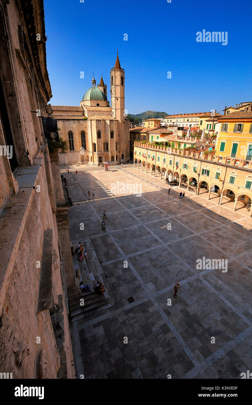 Piazza del Popolo square, Ascoli, Marches, Italy - Stock Image