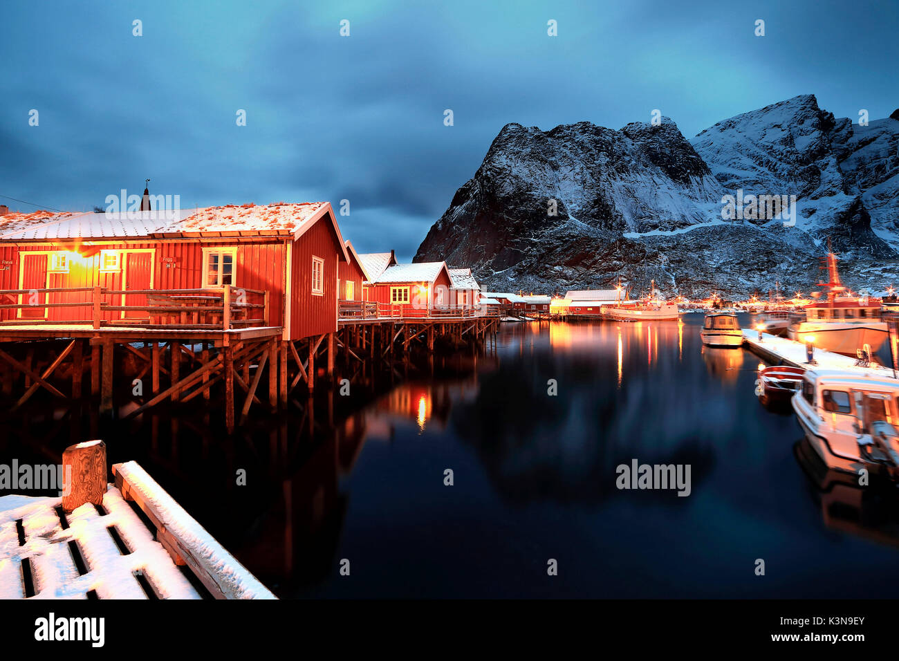 Fishermans village of Reine, Lofoten Islands, Norway, Europe - Stock Image