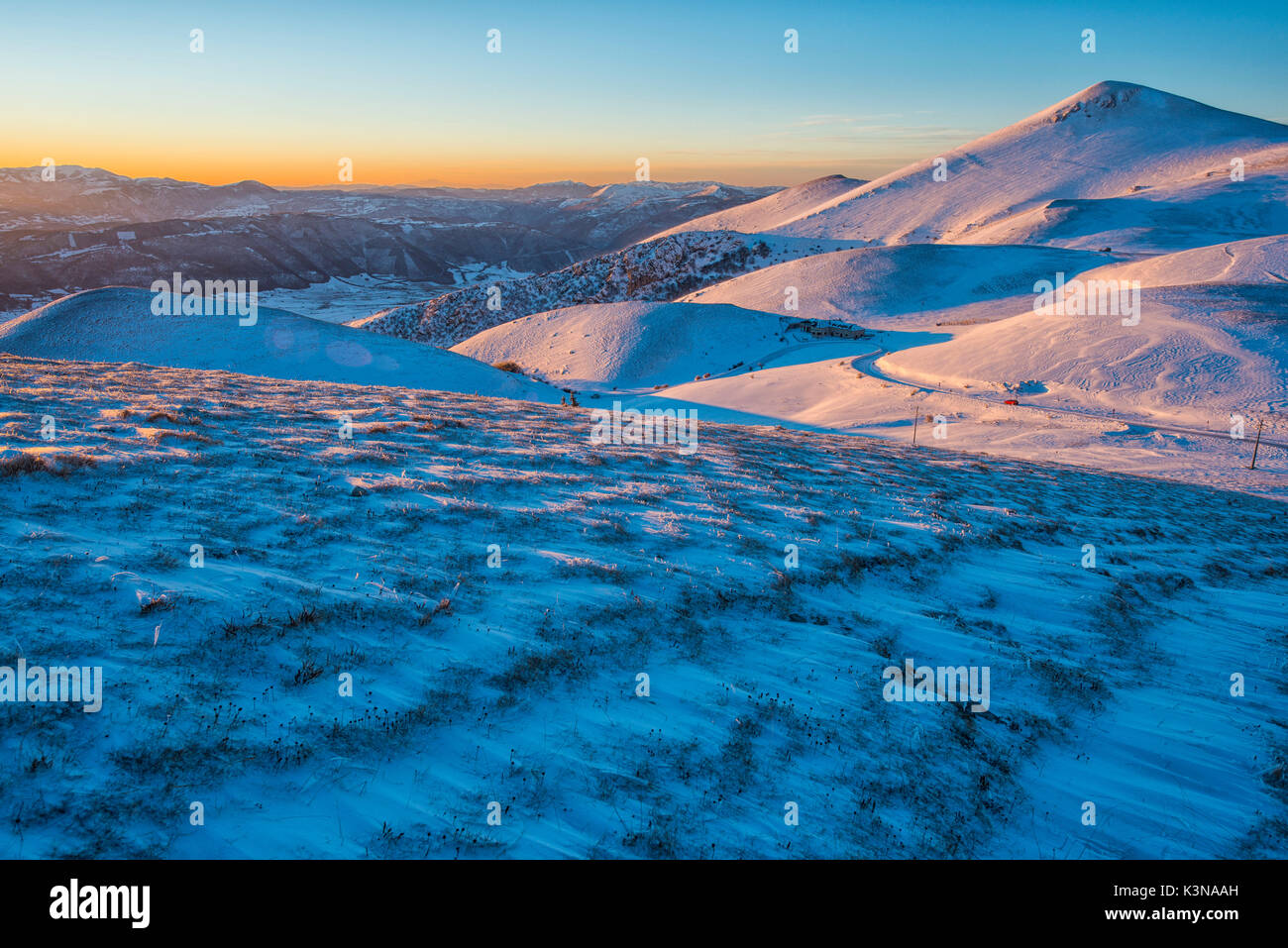 Mountains at sunset, Sibillini mountains NP, Umbria, Italy - Stock Image