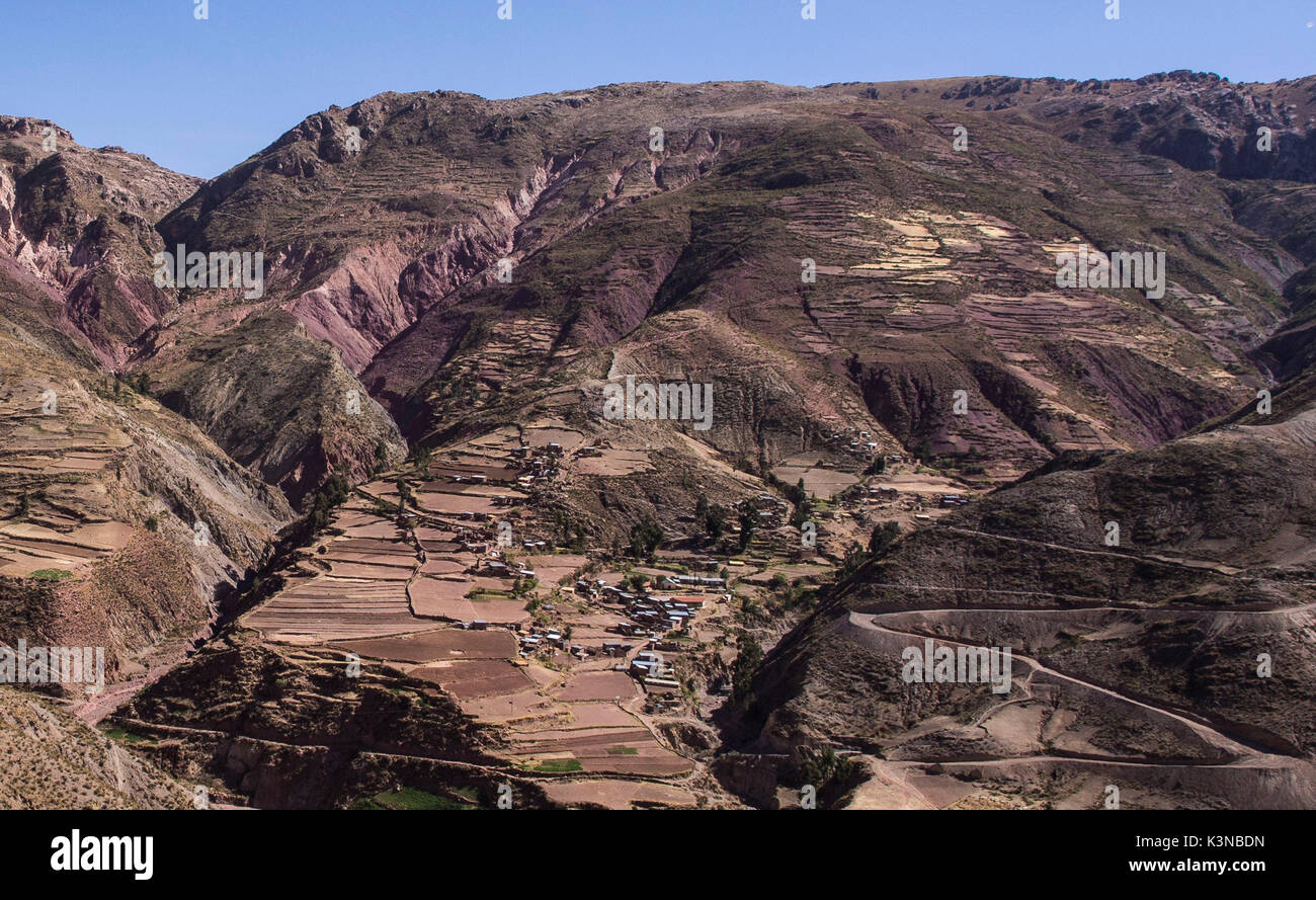 A small town in the mountains of the Cordillera Real, in Bolivia, South America. - Stock Image