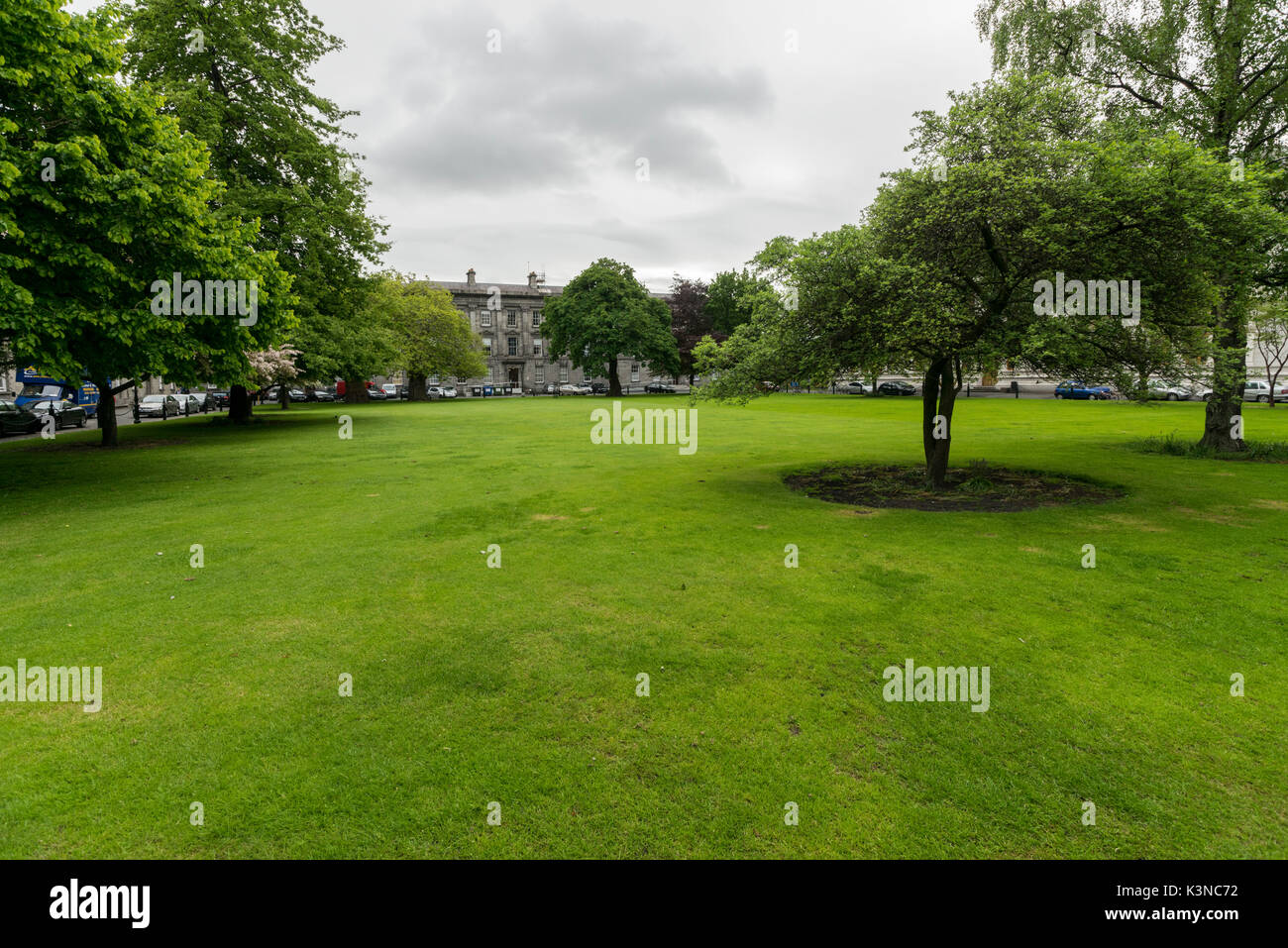 The garden at the Trinity College. Dublin, Leinster, Ireland, Europe. - Stock Image