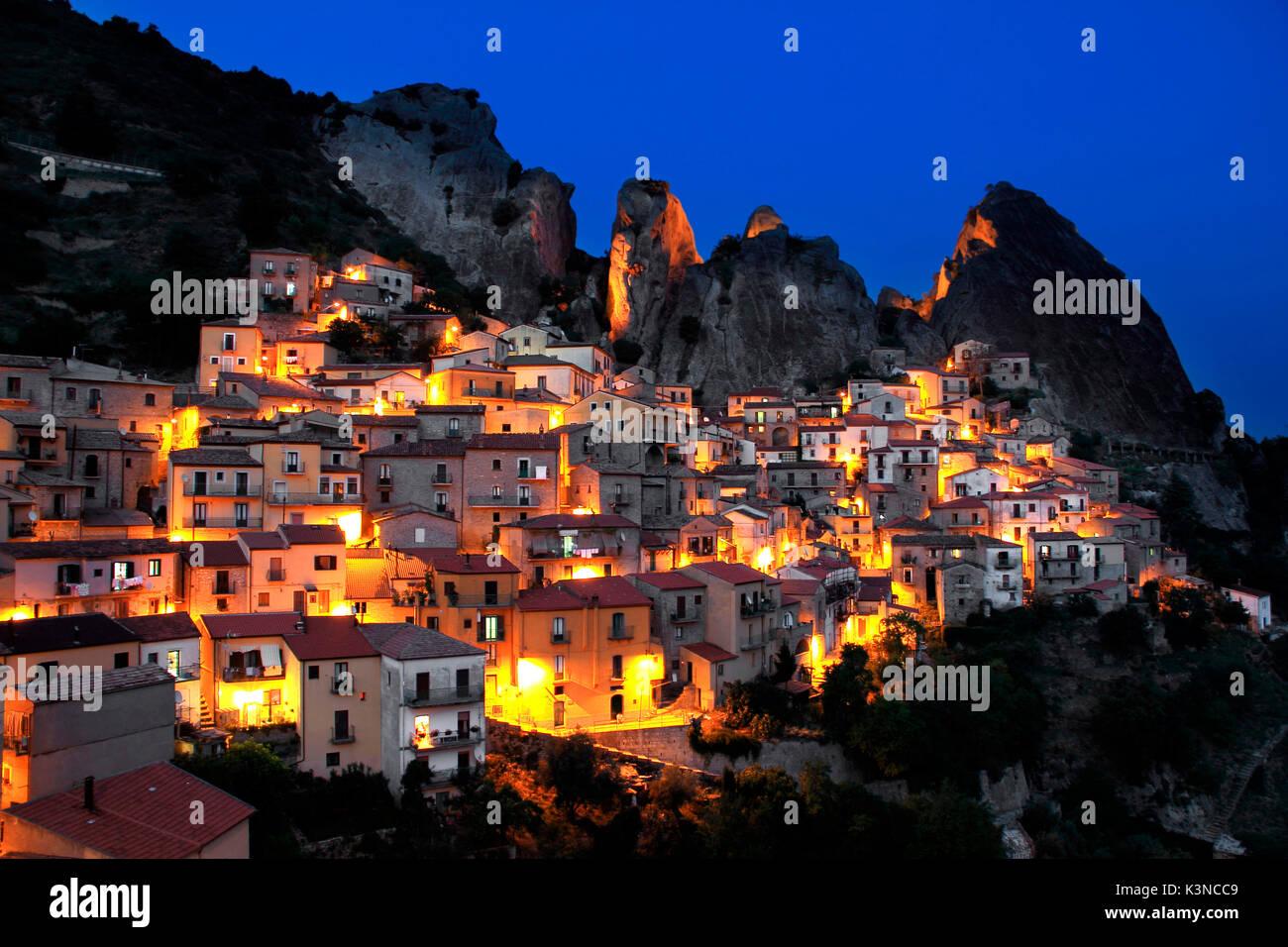 Castelmezzano village by night, Potenza district, Basilicata, Italy Stock Photo