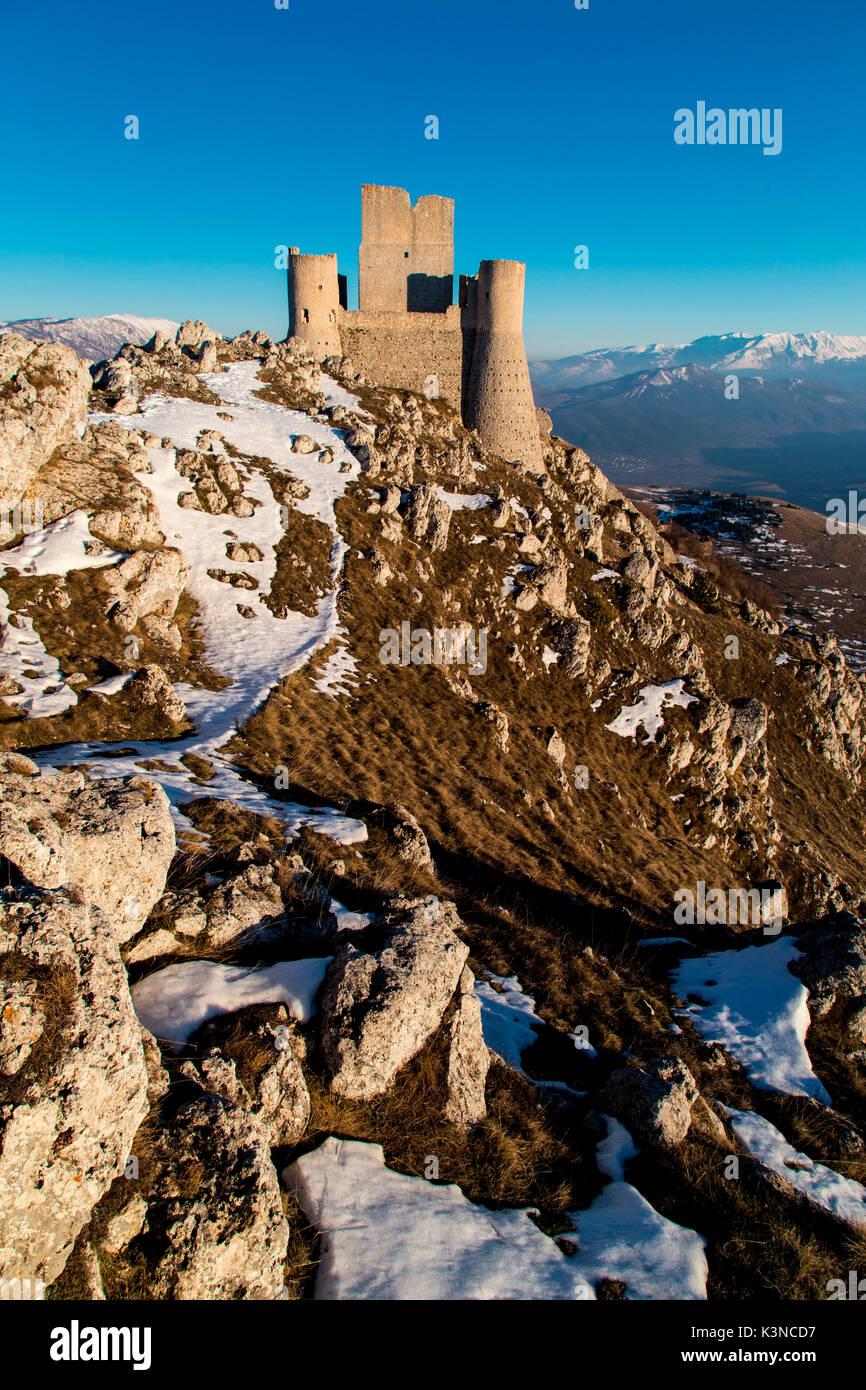 Europe, Italy, Abruzzo. Rocca Calascio at blu hour - Stock Image