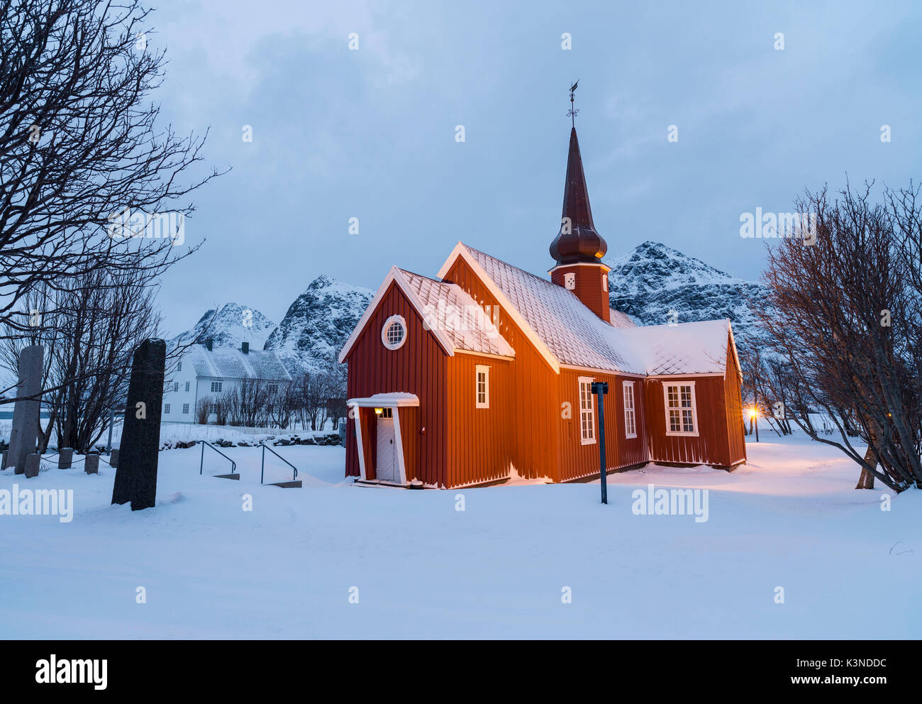 The Flakstad Church in snow, Lofoten Islands, Norway - Stock Image