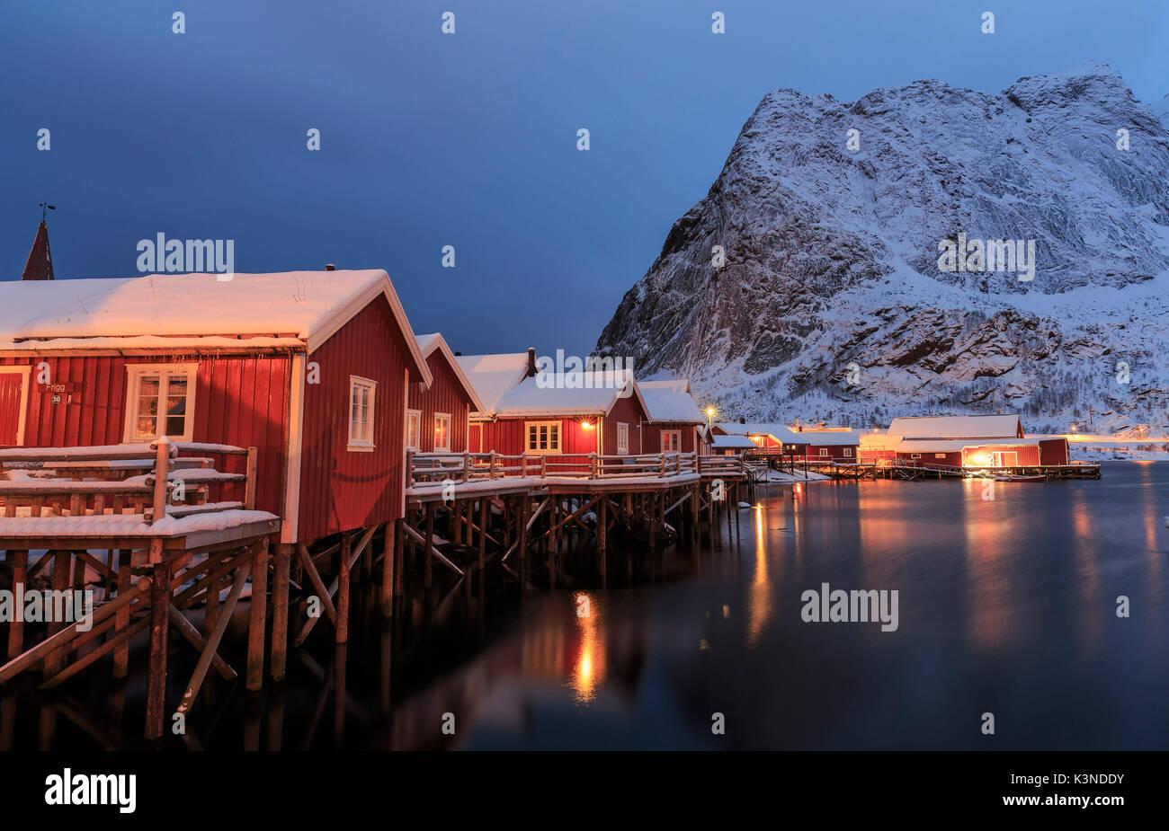 Typical homes of the fishermen of Reine fishing village, lofoten Islands, Norway - Stock Image