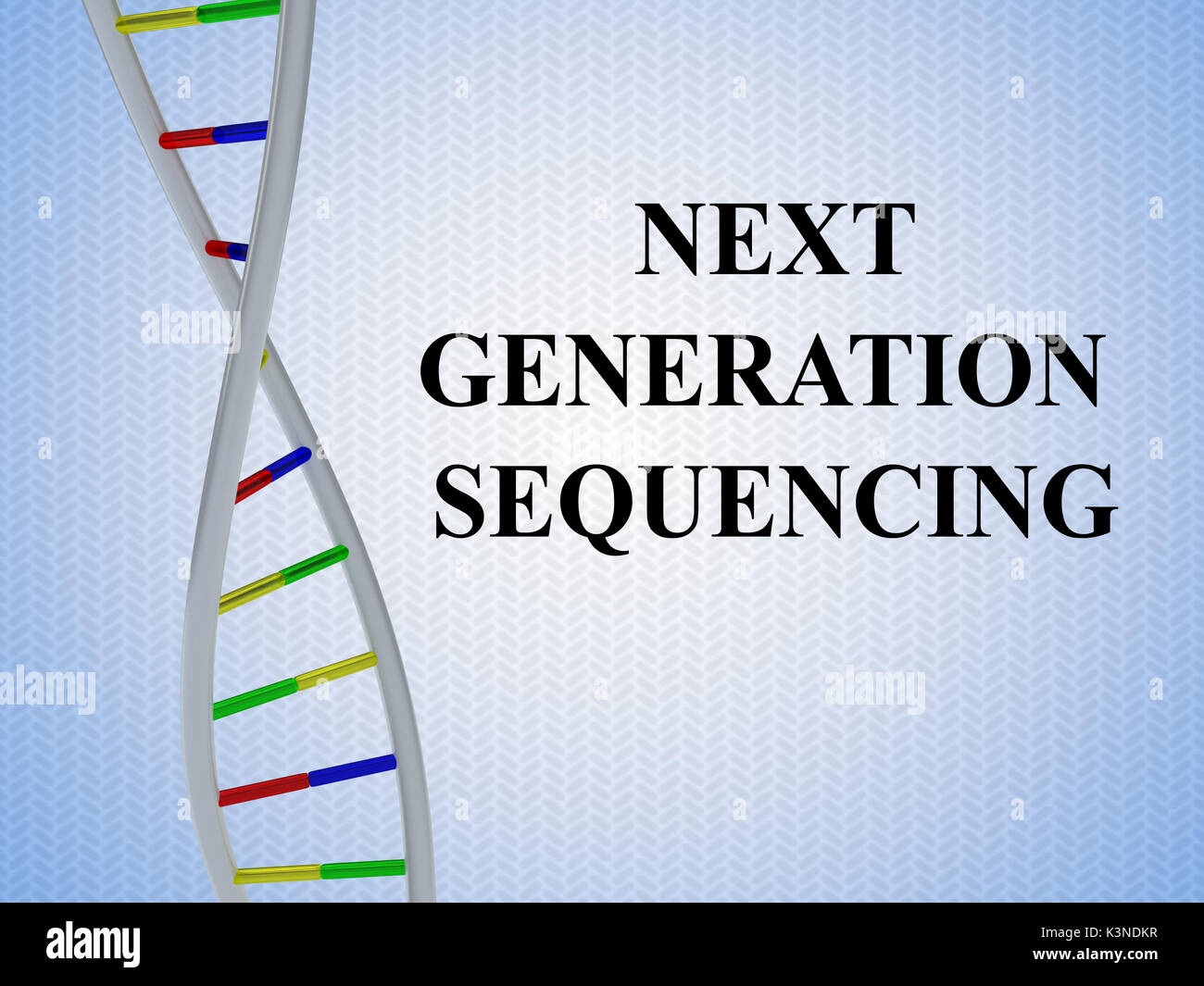 """3D illustration of """"NEXT GENERATION SEQUENCING"""" script with DNA double helix , isolated on colored pattern. Stock Photo"""