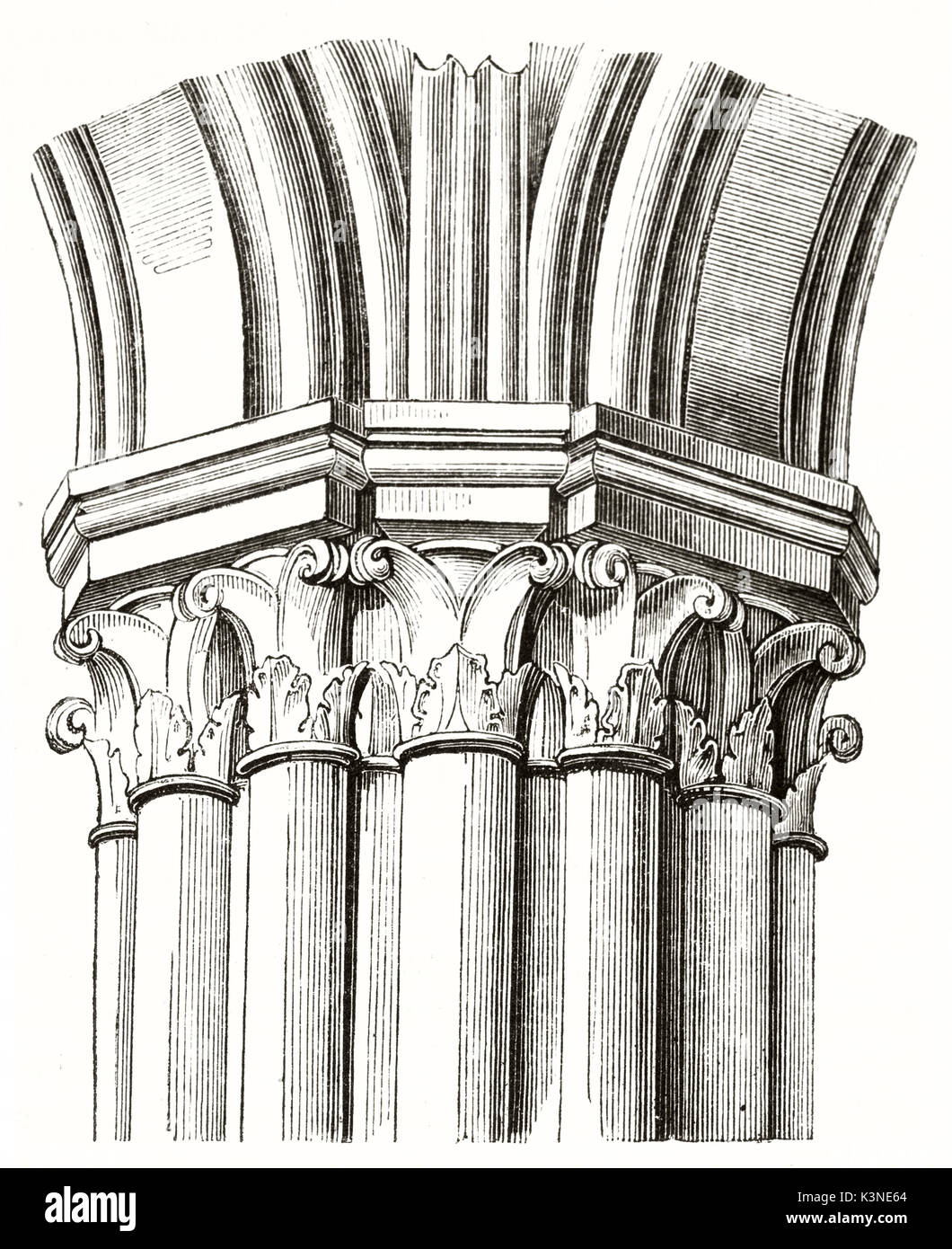 Beam of columns composing a pillar in the aisle of Notre-Dame de Paris France. Isolated architectonic element by unidentified author published on Magasin Pittoresque Paris 1839 - Stock Image