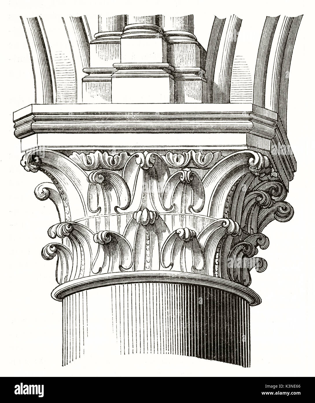 architectonic detail of a pillar's capital in the nave of Notre-Dame de Paris France. Isolated element on white background by unidentified author published on Magasin Pittoresque Paris1839 - Stock Image