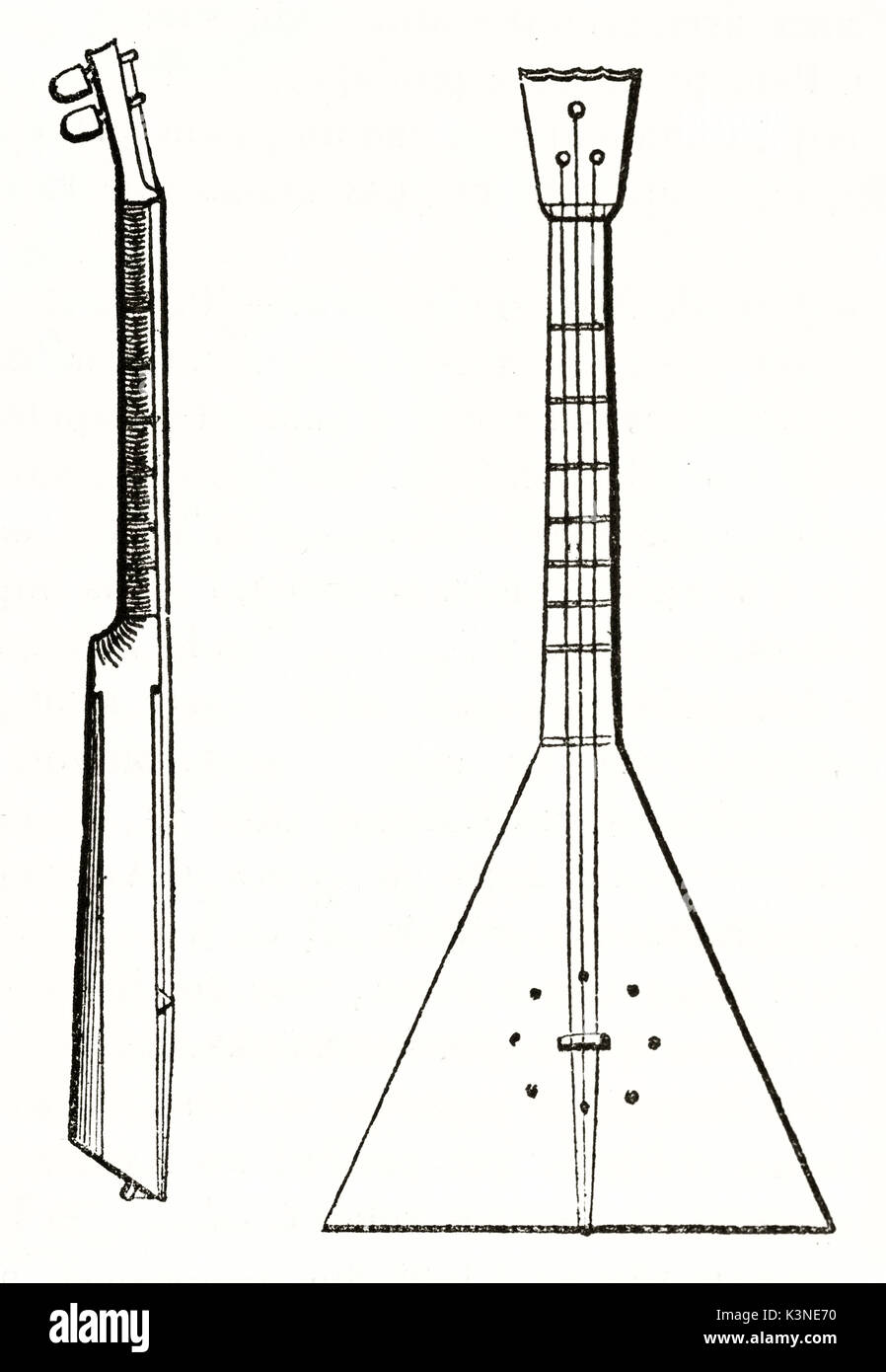 Old illustration of a Cossack guitar with its singular triangular shape. Front and side view on white background. Unidentified author published on Magasin Pittoresque Paris 1839 - Stock Image