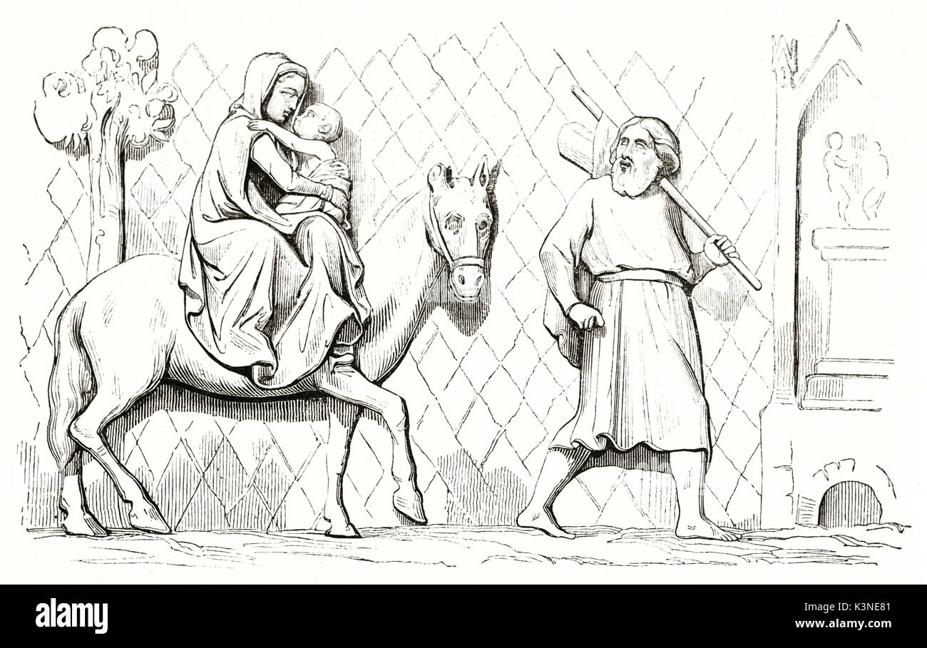 Woman on a horse with her baby behind a man leading on foot. Old reproduction of a bass relief in Notre-Dame de Paris depicting The Flight into Egypt. Magasin Pittoresque Paris 1839 - Stock Image