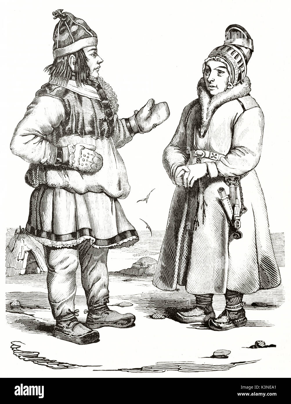 Old engraved illustration depicting two Norwegian Laplanders in their traditional costumes suitable for cold temperatures. Created by Wattier Andrew Best and Leloir, Magasin Pittoresque Paris 1839 - Stock Image