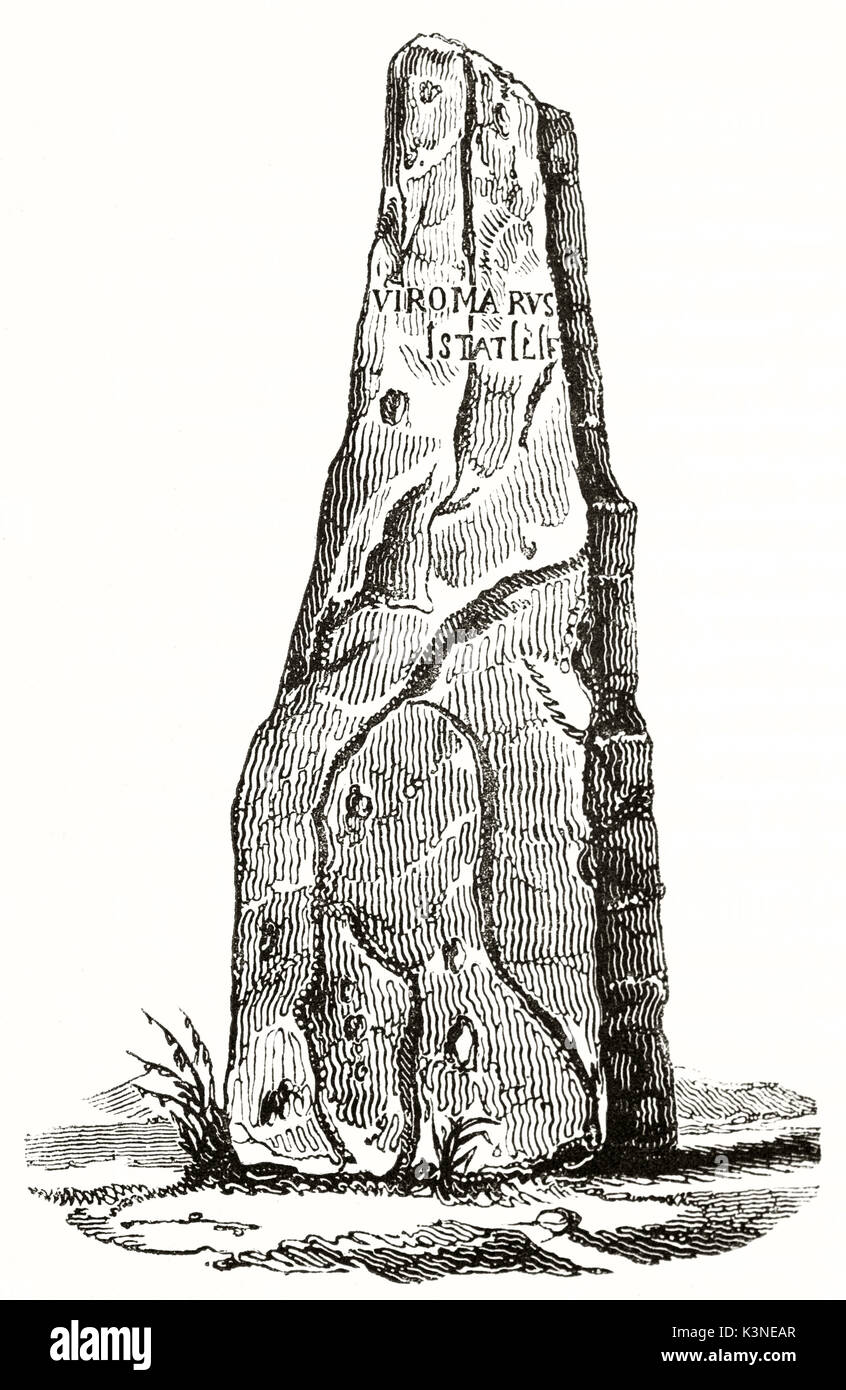 Ancient isolated detail of a big stone standing on ground. Haute-Borne Menhir Maine et Loire France. By unidentified Stock Photo