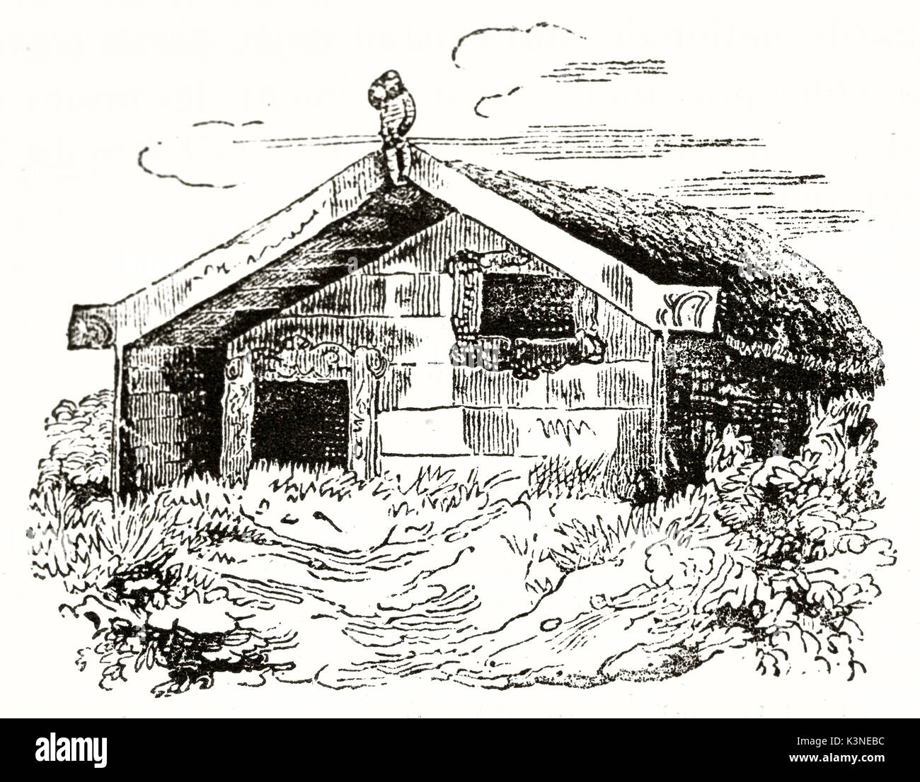 Old rough illustration of New Zealand house outdoor in the countryside. By unidentified author published on Magasin Stock Photo