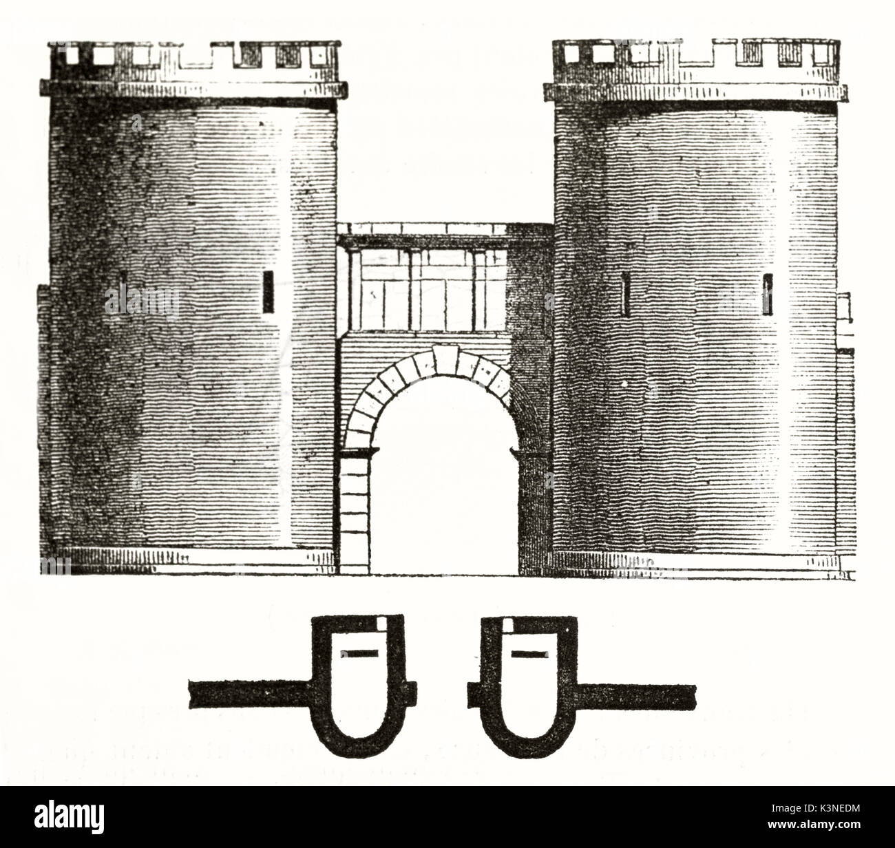Ancient front view of the Porte de France (France gate) Nimes France, displayed in a old architectonic illustration. By unidentified author published on Magasin Pittoresque Paris 1839 - Stock Image