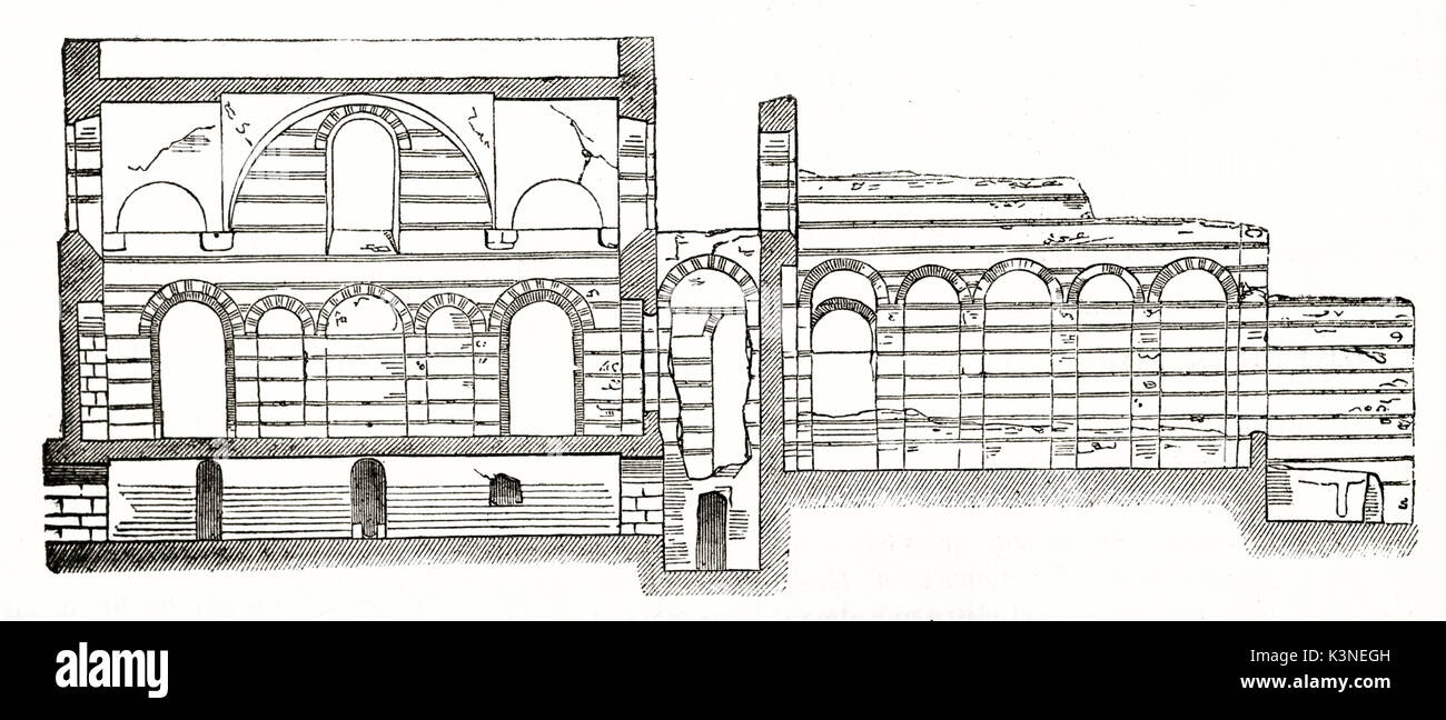 Old cross section of Roman thermes in Paris. Typical roman stone architectural elements like arched doors. By unidentified author published on Magasin Pittoresque Paris 1839 - Stock Image