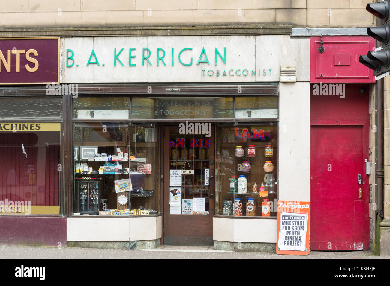 Tobacconist Shop - specialist tobacconists and sweet shop B A Kerrigan, Perth, Scotland, UK - Stock Image
