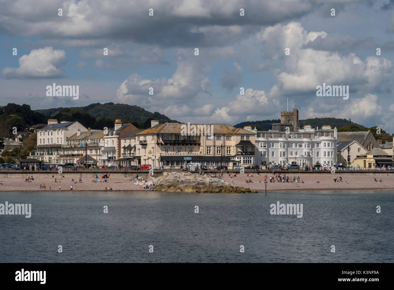 View of the Espanade and Station Road,Sidmouth,with the Bedford and Riviera Hotels. - Stock Image