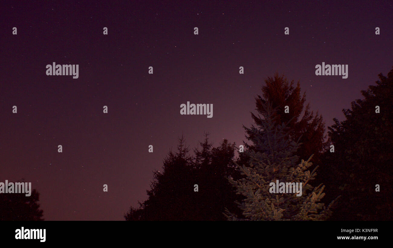 After sunset before dark, the sky went pinky purple, Cussy en Morvan, France - Stock Image