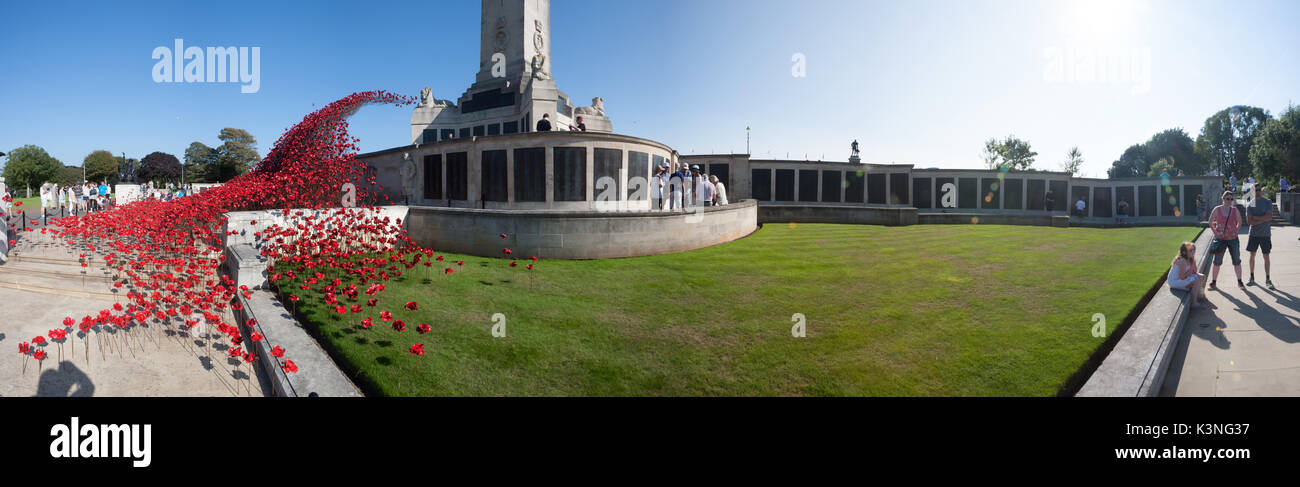 Poppies Wave art installation at Plymouth Naval Memorial. By Paul Cummins Artist and Tom Piper Designer. The Hoe, Stock Photo