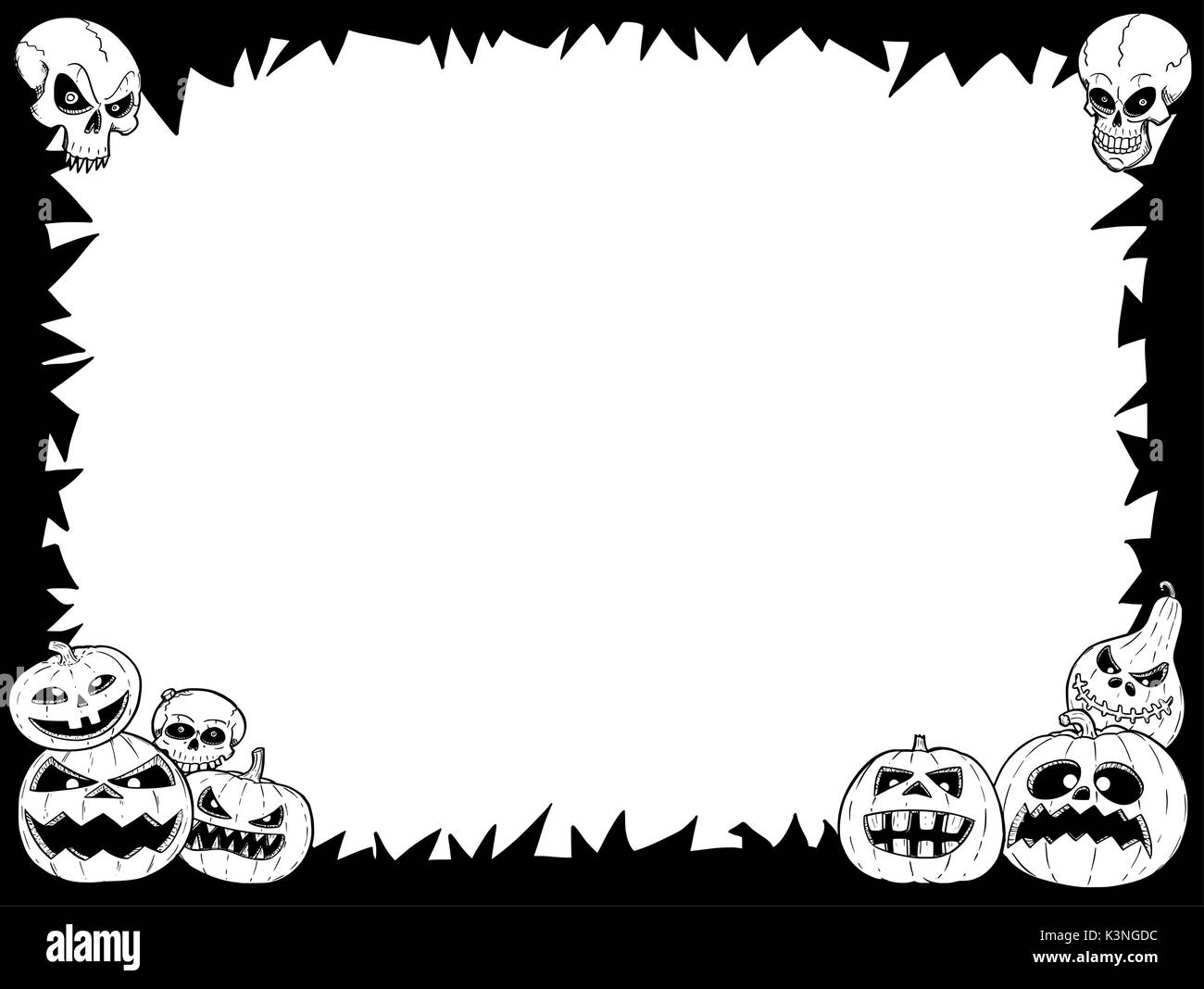 Hand drawing cartoon Halloween frame with skull and pumpkin Stock ...