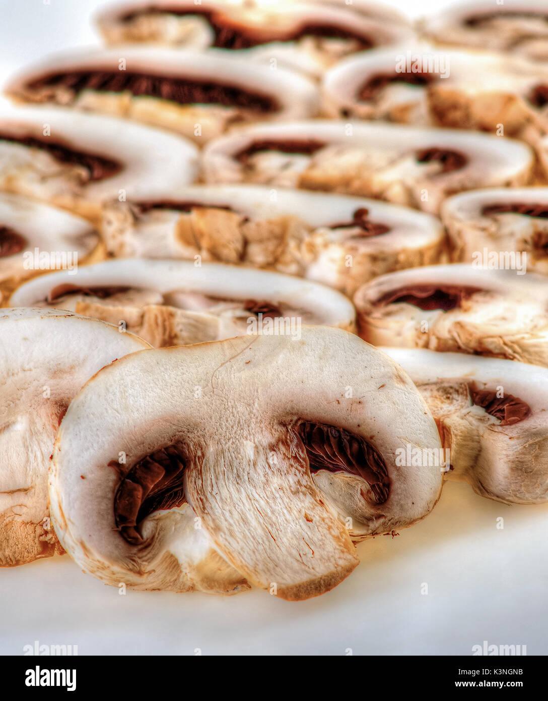 Fresh sliced mushrooms for food ingredient - Stock Image