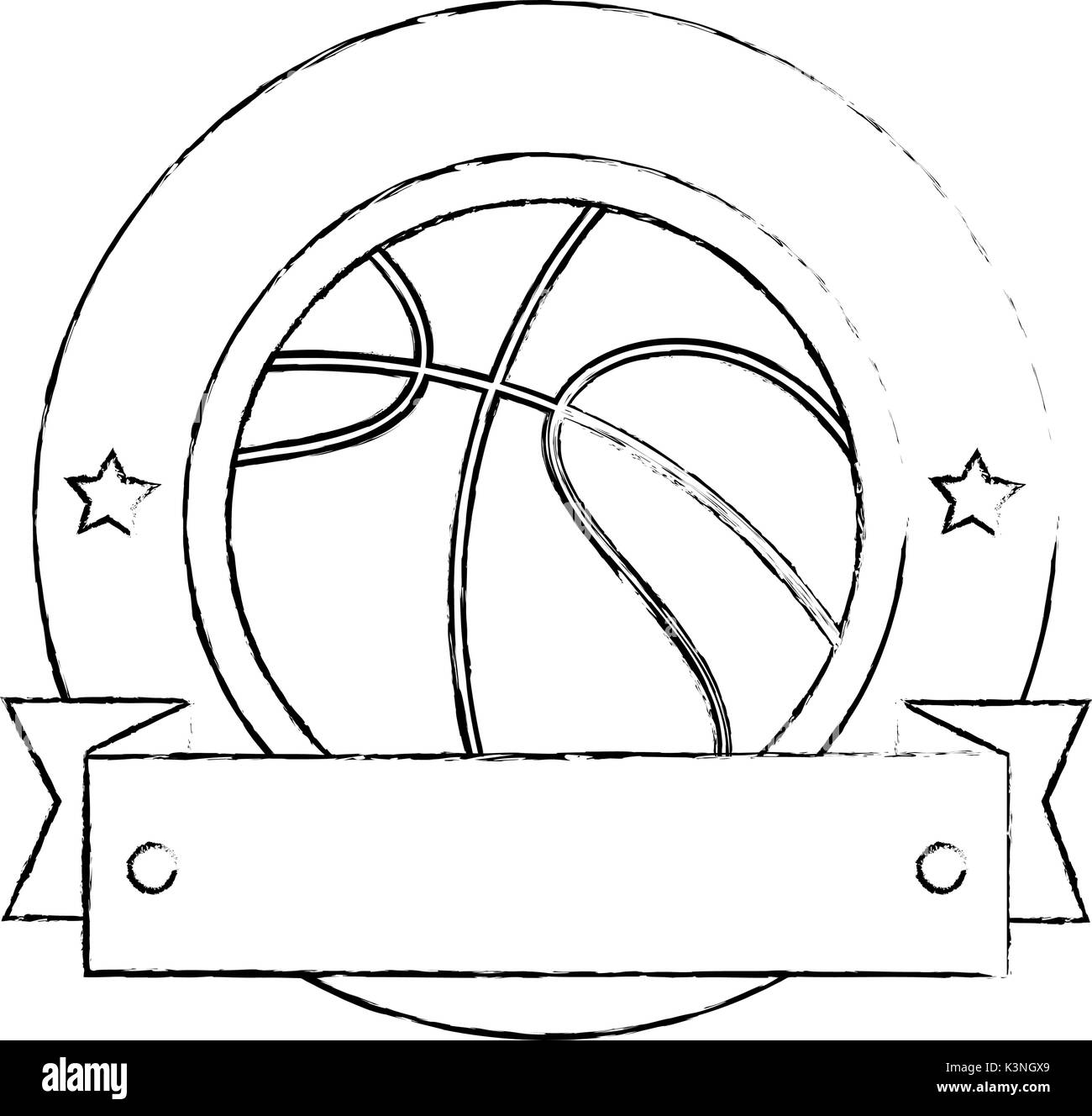 Basketball ball emblem icon vector illustration graphic design - Stock Image