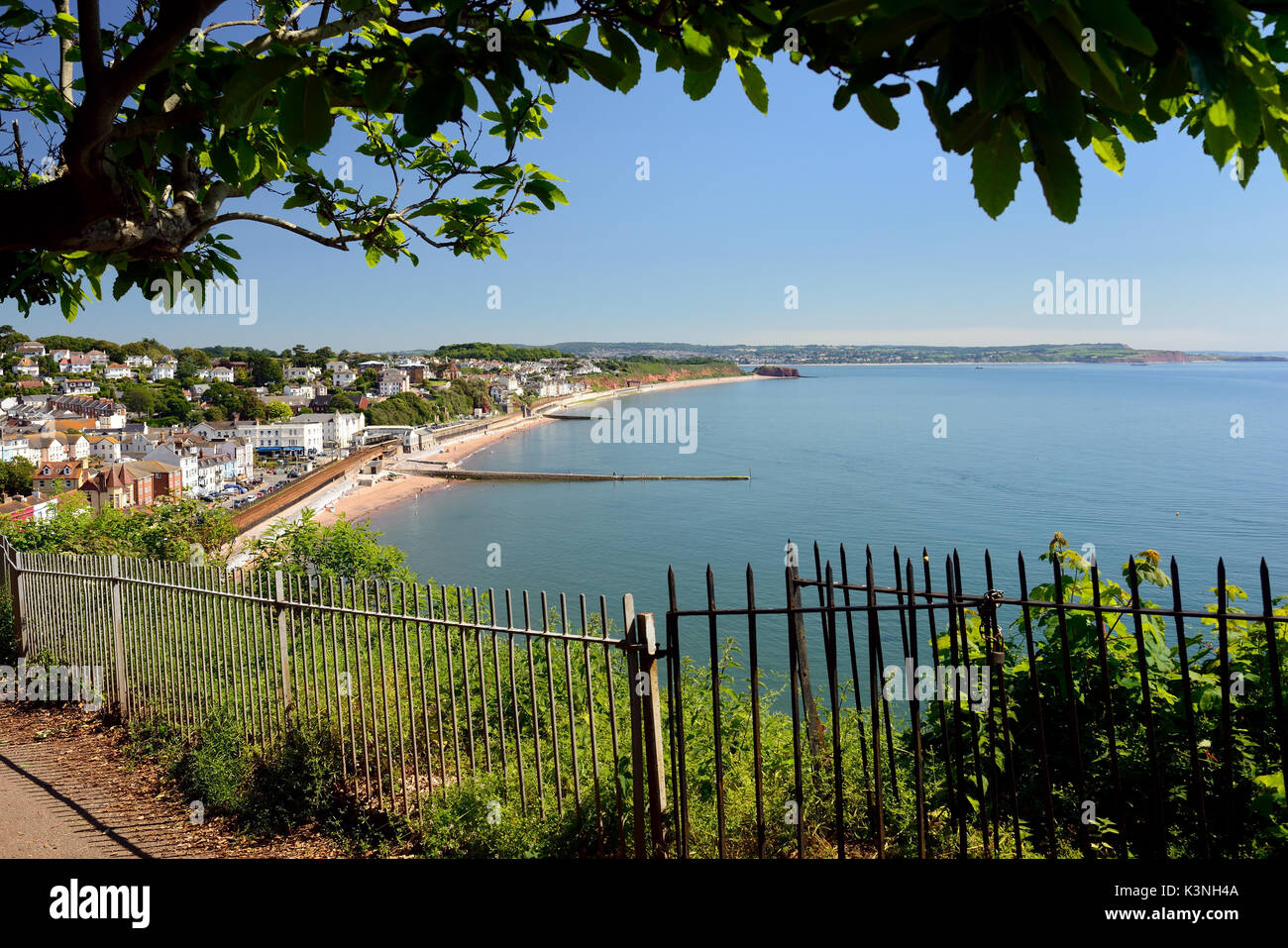 Dawlish seafront, looking towards Exmouth from Lea Mount. - Stock Image