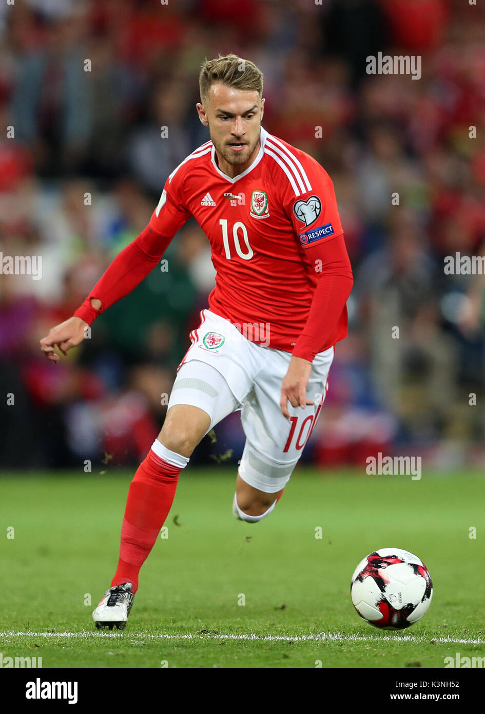 Wales' Aaron Ramsey during the 2018 FIFA World Cup Qualifying, Group D match at the Cardiff City Stadium. PRESS Stock Photo