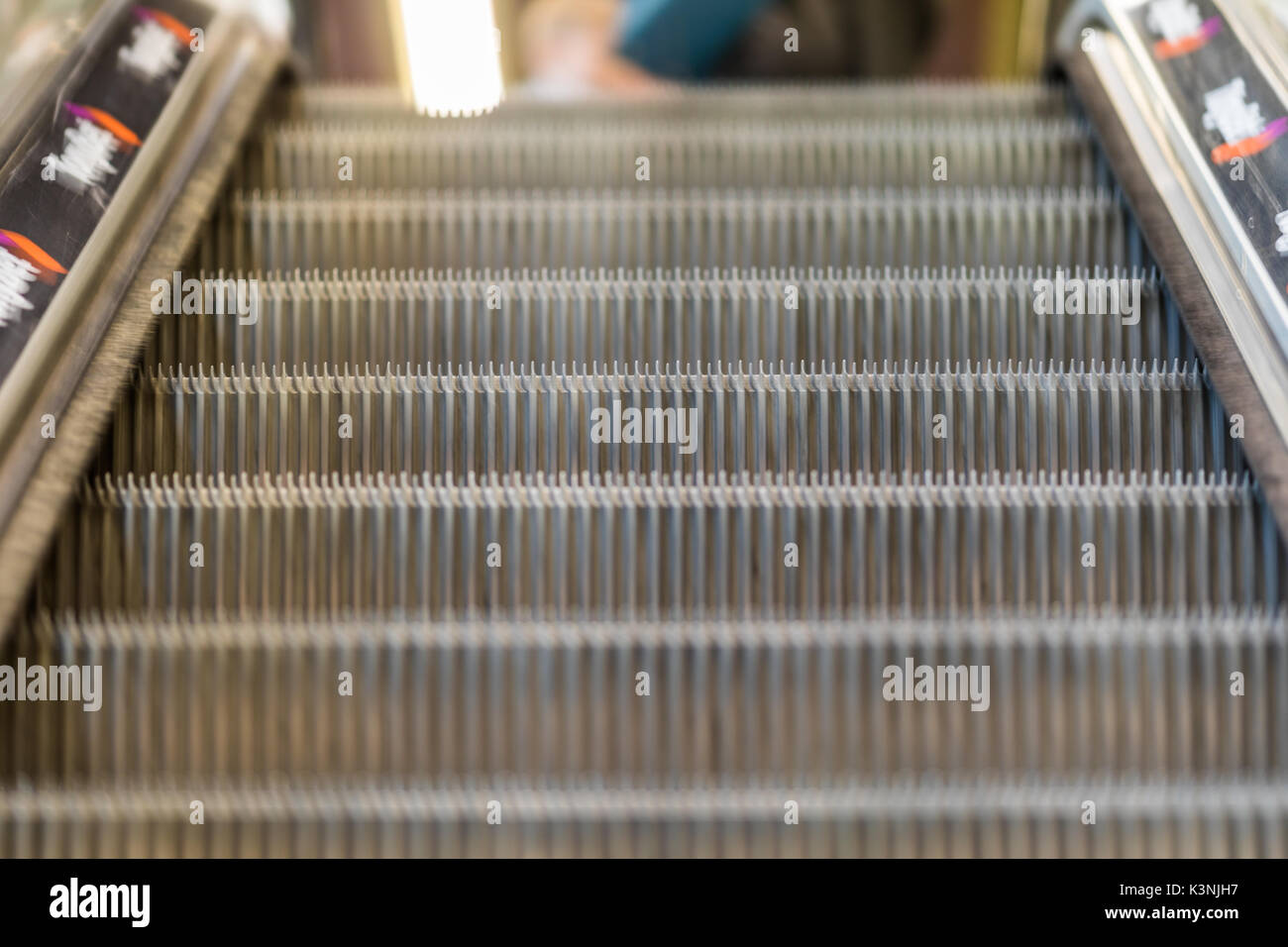 Abstract blurred Image of escalator in shopping mall store for background usage. - Stock Image