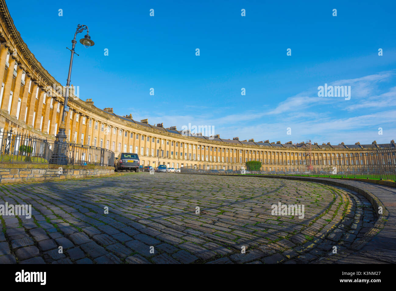 Bath Royal Crescent, view of the Royal Crescent - a row of 30 Georgian terraced houses laid out in a sweeping crescent in the centre of Bath, UK. - Stock Image