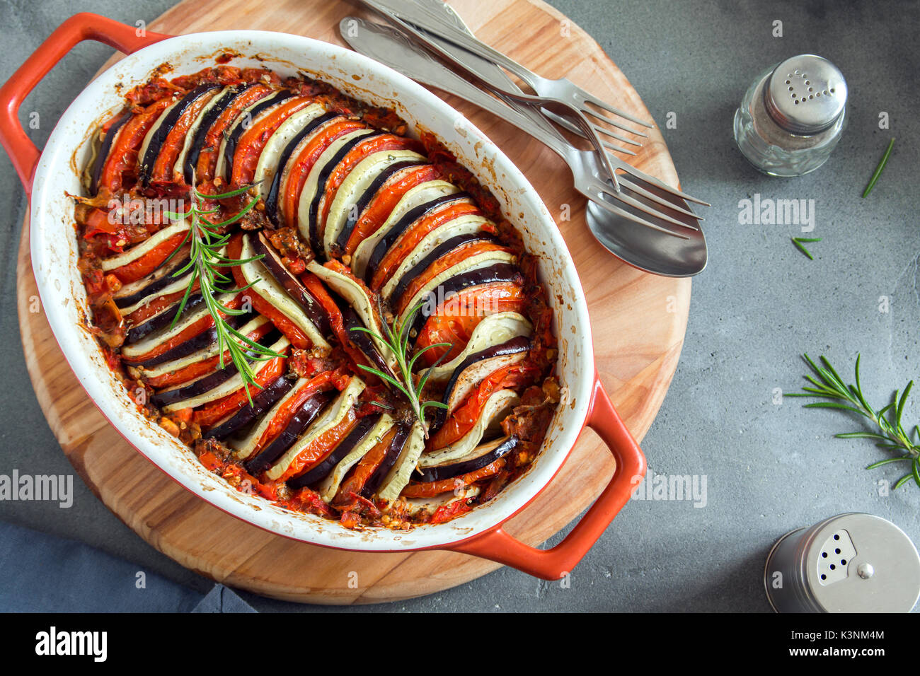 Ratatouille - traditional French Provencal vegetable dish cooked in oven. Diet vegetarian vegan food - Ratatouille Stock Photo