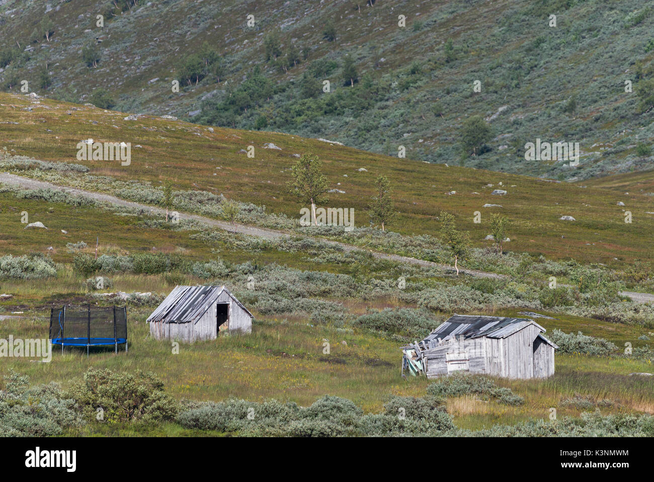 Small abandoned sapmi cabins in Alta Norway - Stock Image