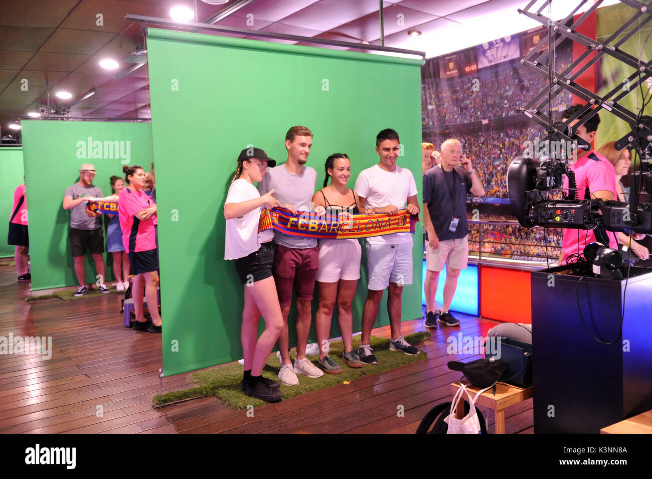 Photoshoot at the FC Barcelona Museum and Nou camp stadium tour. Stock Photo
