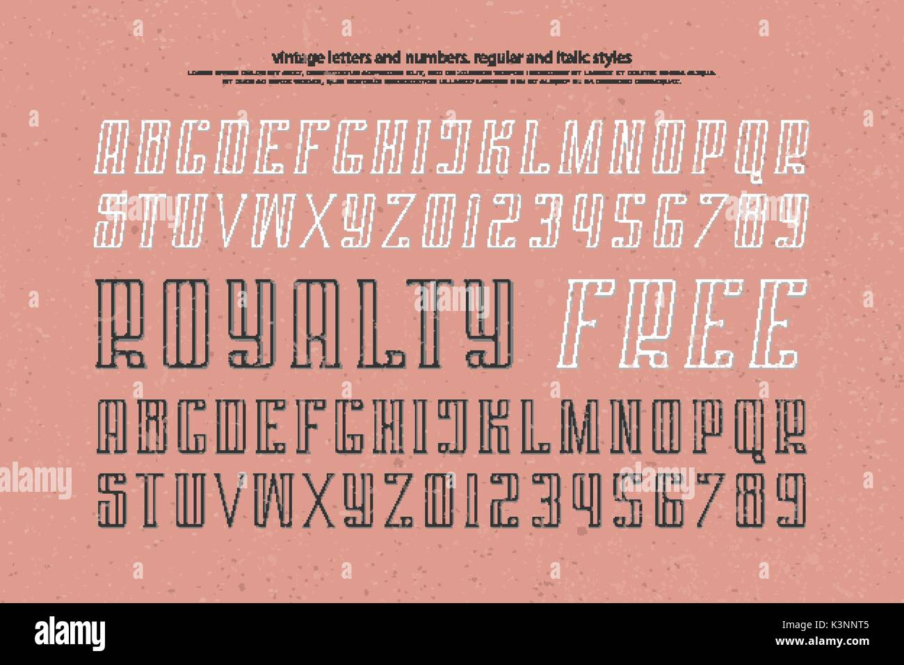 regular and italic alphabet letters and numbers  vector font