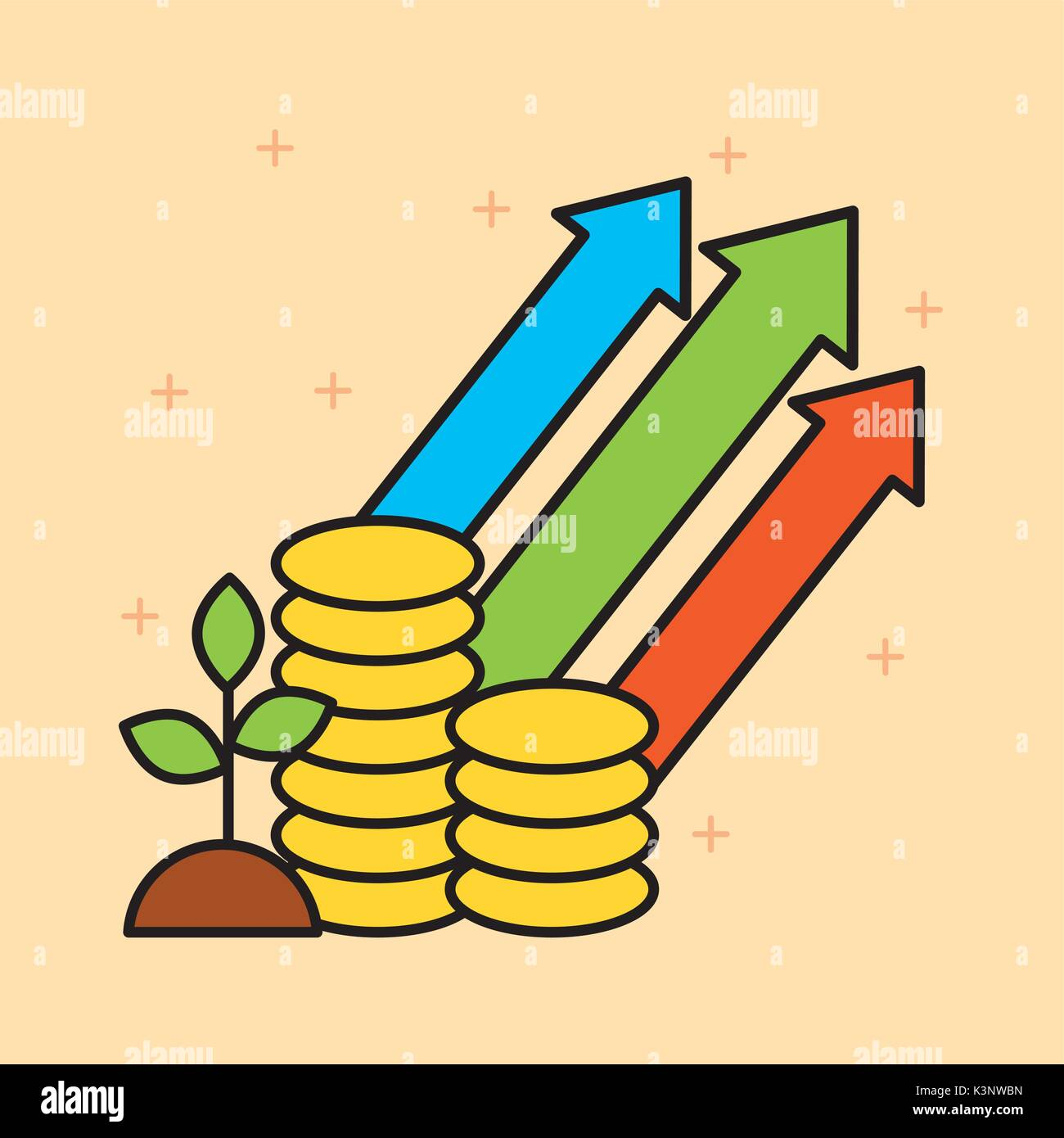 set of finance and business growth investing concepts - Stock Image
