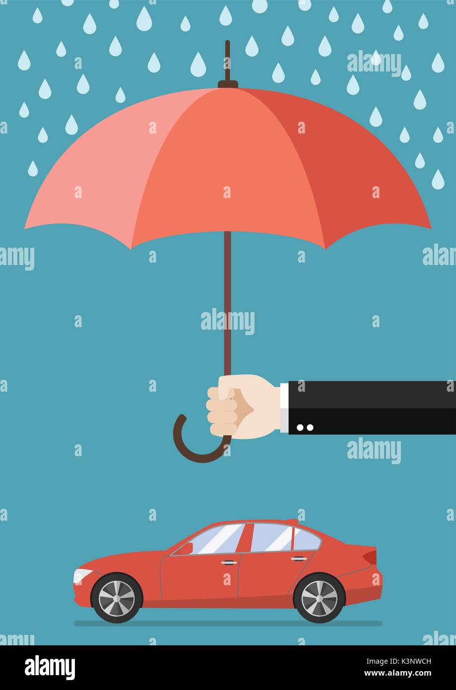Hand Holding An Umbrella Protecting Car Business Concept Stock