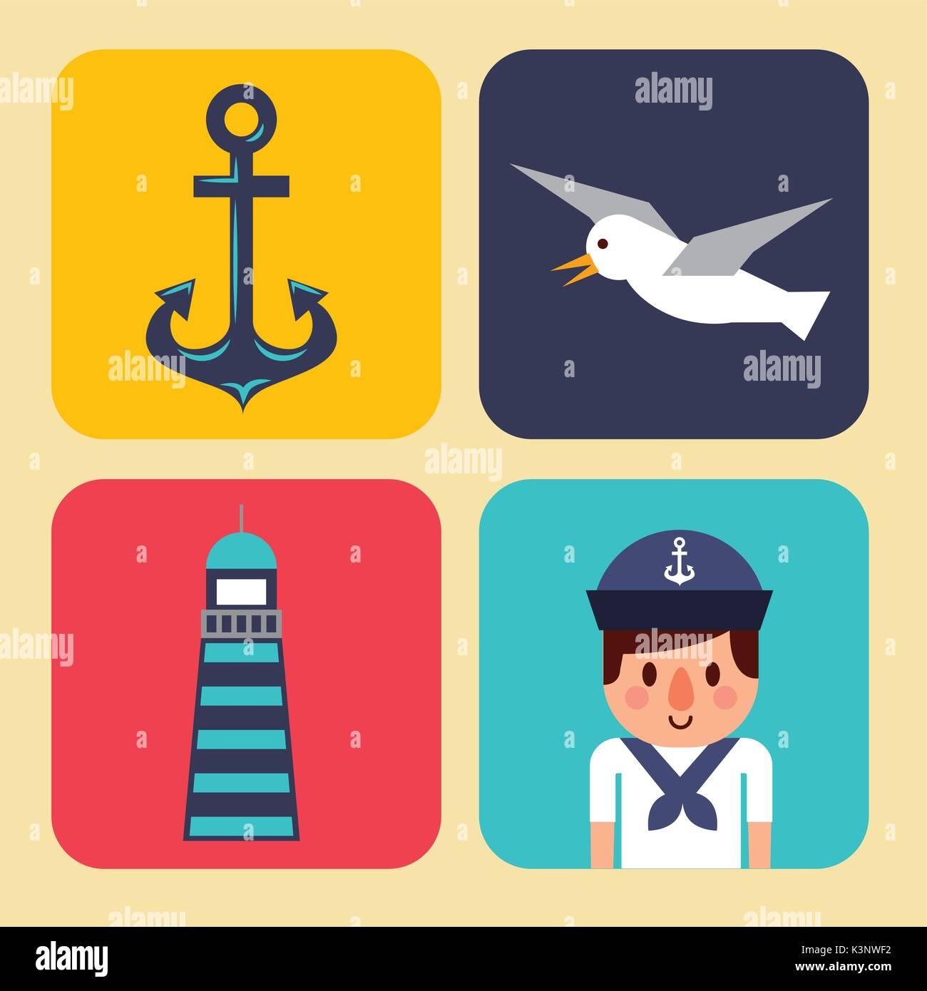 nautical design elements anchor wheel boat fish lifebuoy lighthouse - Stock Image
