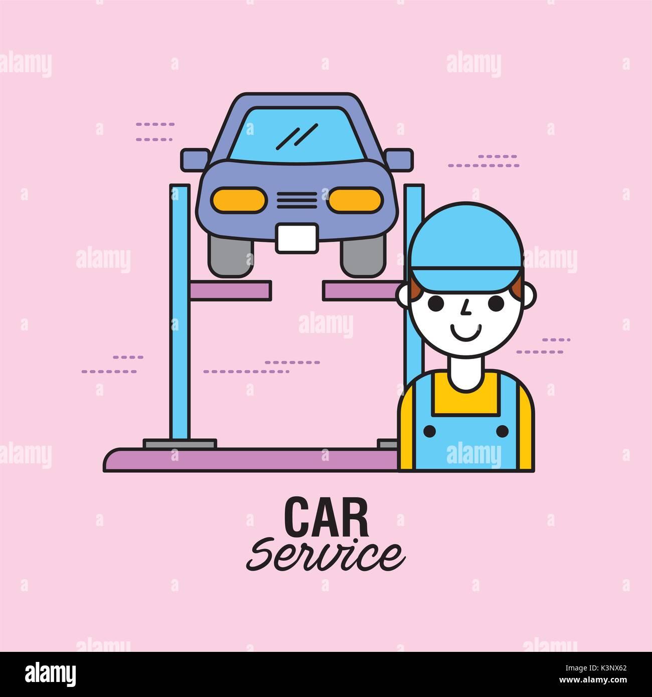 car service vehicle alignment auto technician equipment - Stock Image