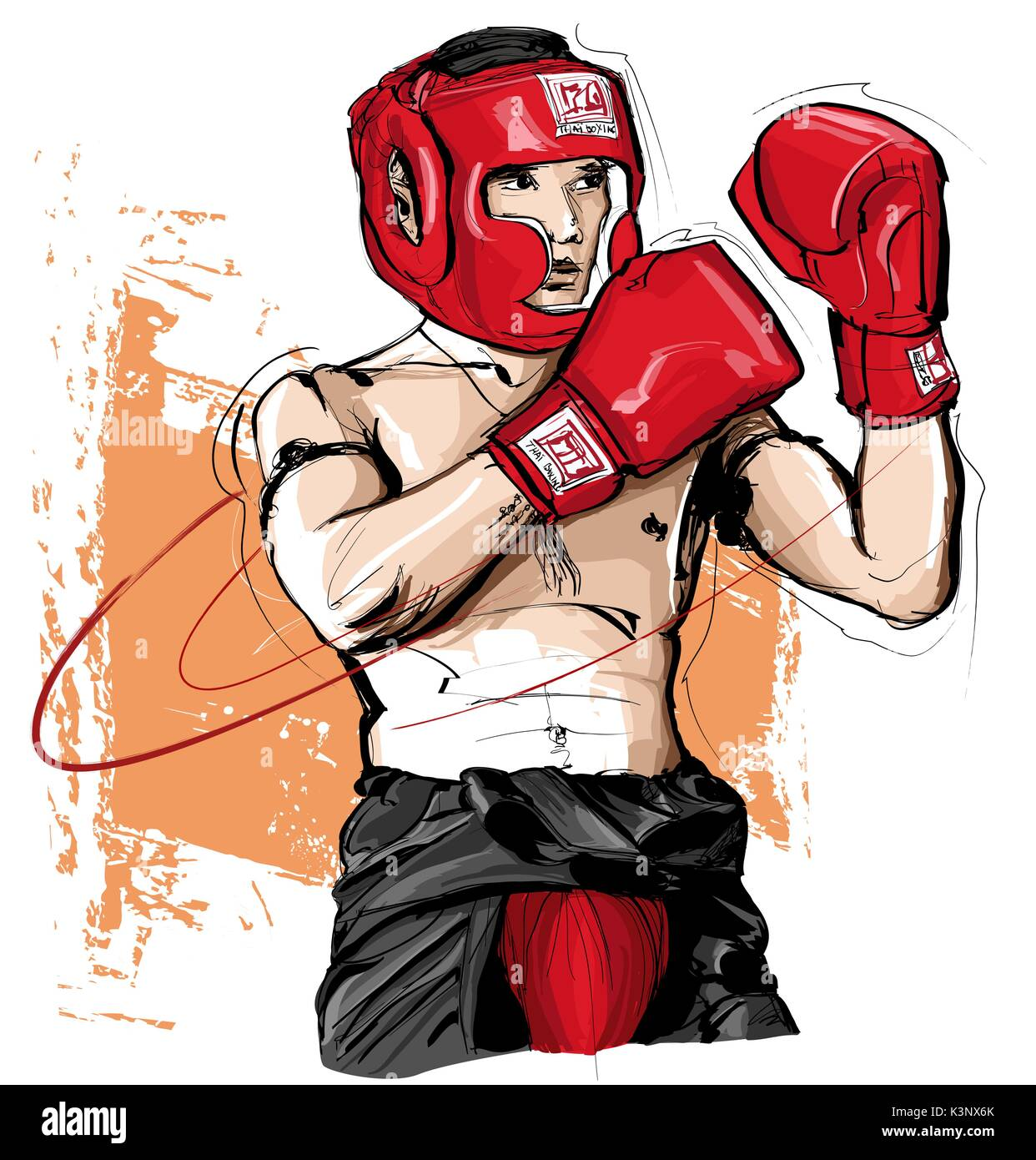 Thai boxing,man fighting - vector illustration - Stock Vector