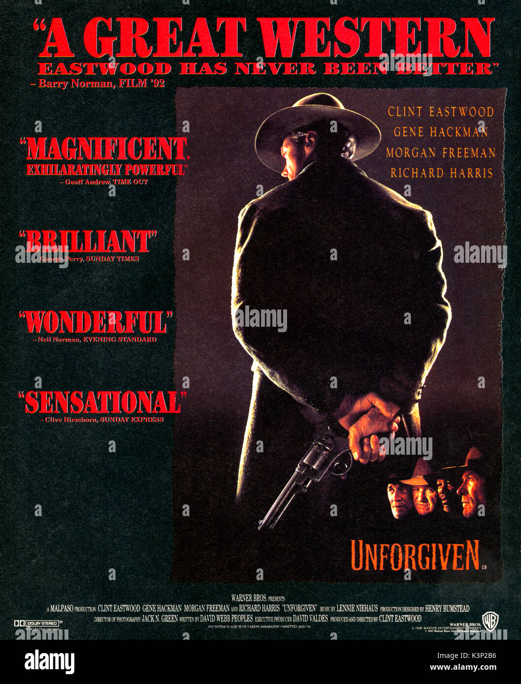 UNFORGIVEN [US 1992] CLINT EASTWOOD, RICHARD HARRIS, MORGAN FREEMAN, GENE HACKMAN     Date: 1992 Stock Photo