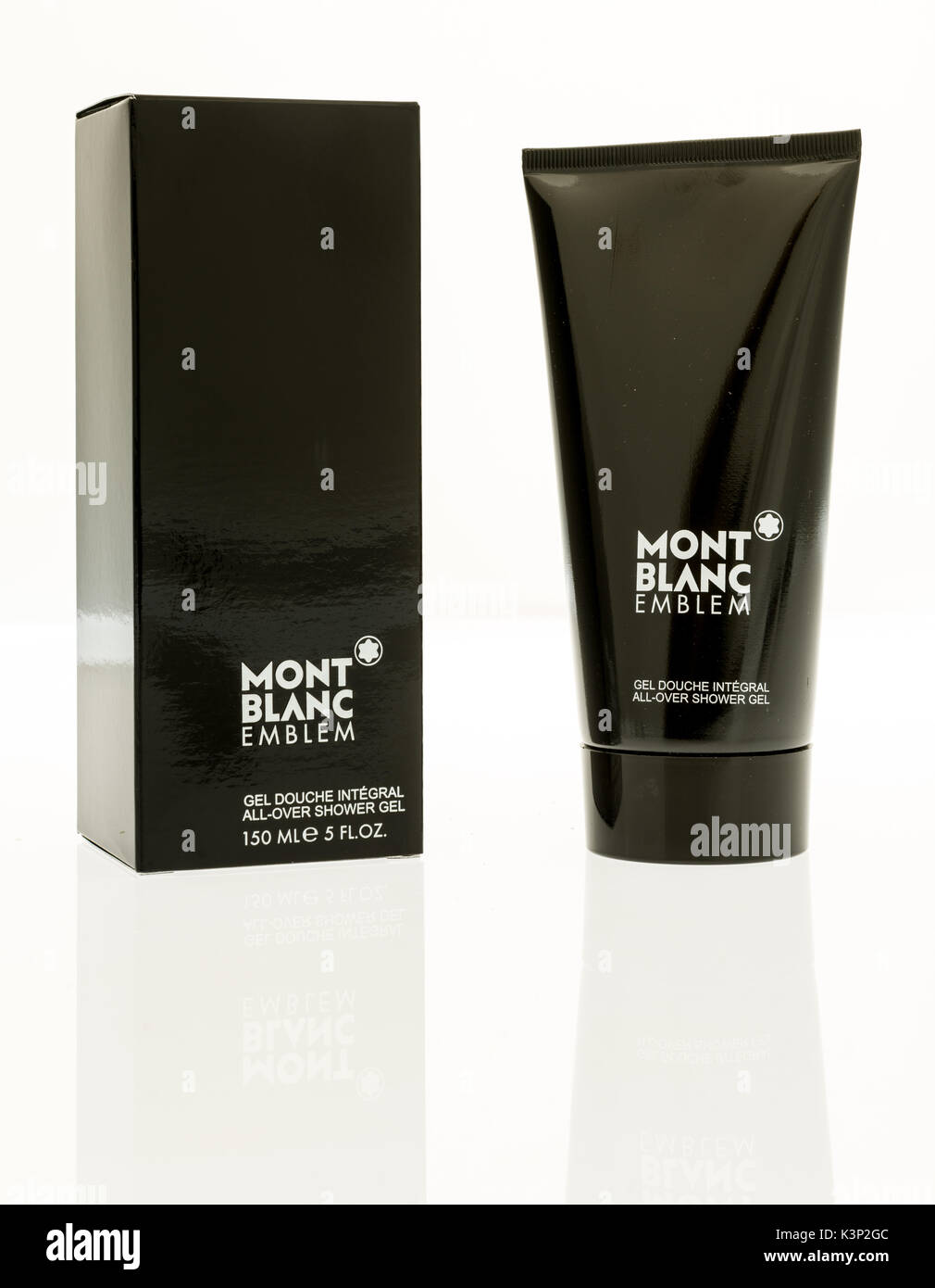 Winneconne, WI - 1 September 2017:  A tube of Mont Blanc Emblem shower gel on an isolated background. - Stock Image