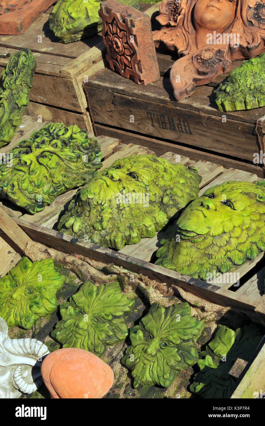 the green man garden statuary ornaments folklore historical figures witchcraft iconic garden figures - Stock Image