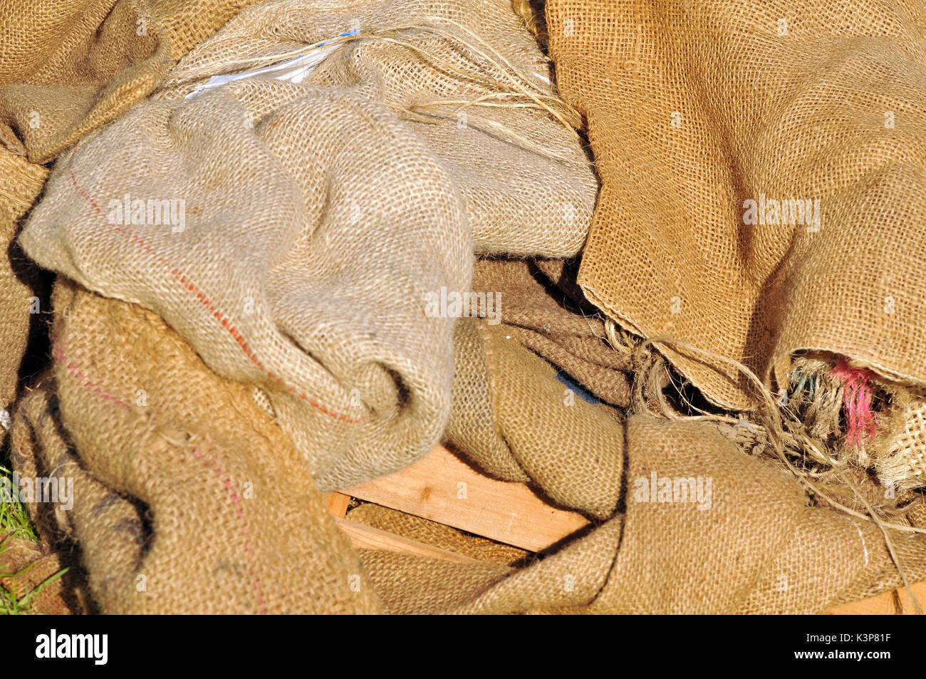 Hession  sacking sacks thick coarse materials for packaging and storage of goods airflow and porous - Stock Image