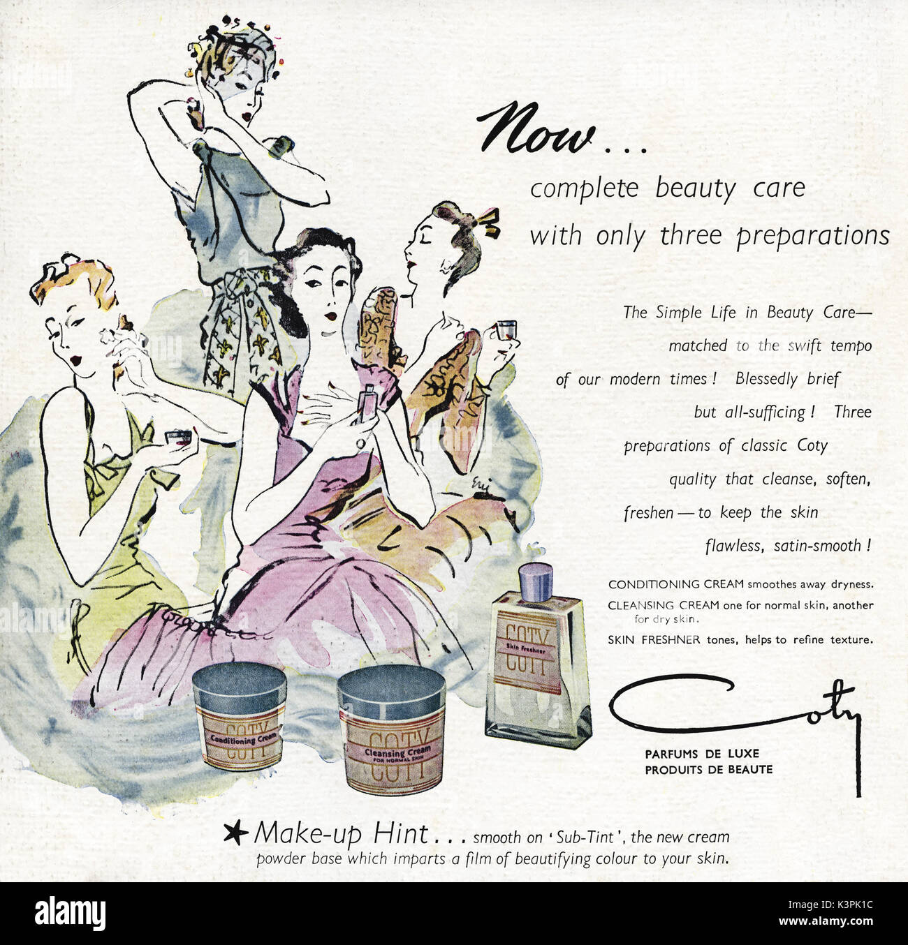 1940s old vintage original advert advertising Coty make-up & beauty cosmetics in magazine circa 1947 when supplies were still restricted under post-war rationing - Stock Image