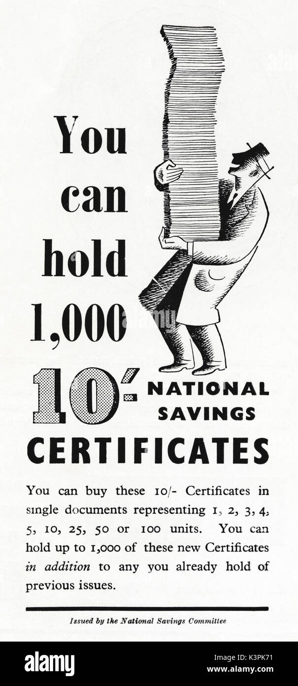 1940s old vintage original advert advertising National Savings Certificates in magazine circa 1947 when supplies were still restricted under post-war rationing - Stock Image
