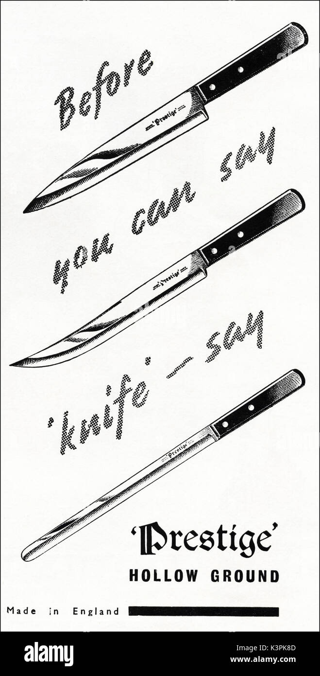 1940s old vintage original advert advertising Prestige hollow ground kitchen knives Made in England in magazine circa 1947 when supplies were still restricted under post-war rationing - Stock Image